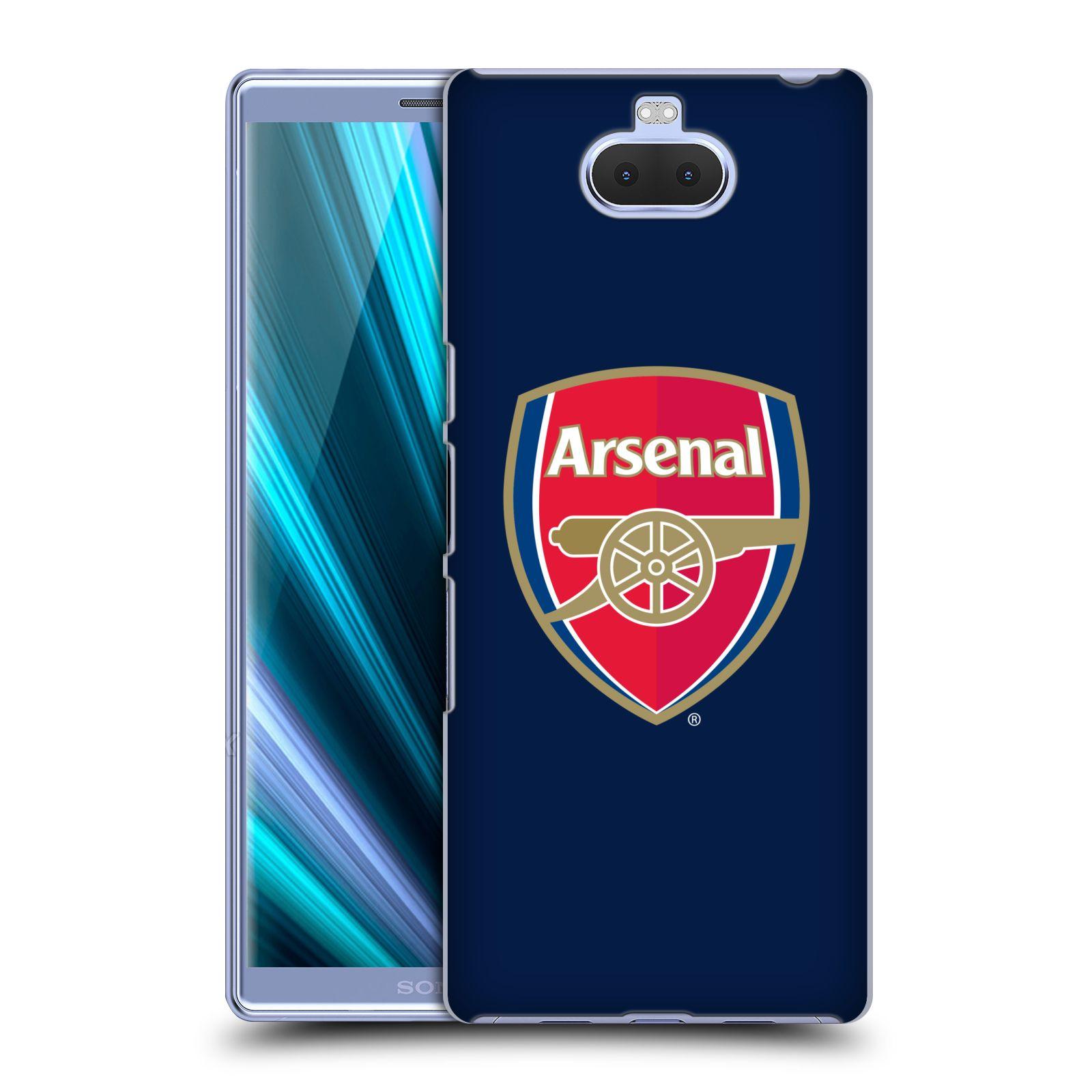 Pouzdro na mobil Sony Xperia 10 - Head Case - Fotbalový klub Arsenal znak barevný modré pozadí