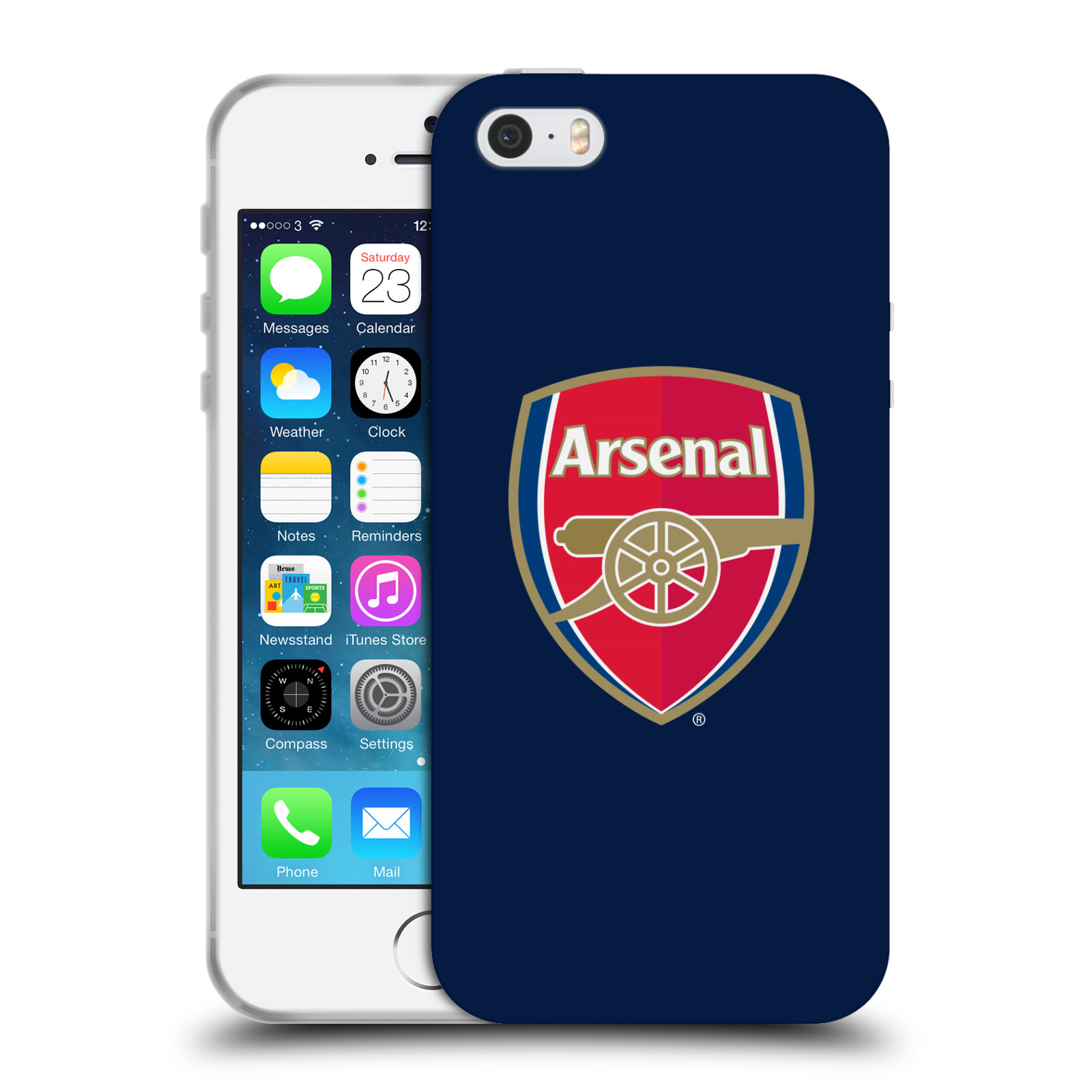 HEAD CASE silikonový obal na mobil Apple Iphone 5/5S Fotbalový klub Arsenal znak barevný modré pozadí