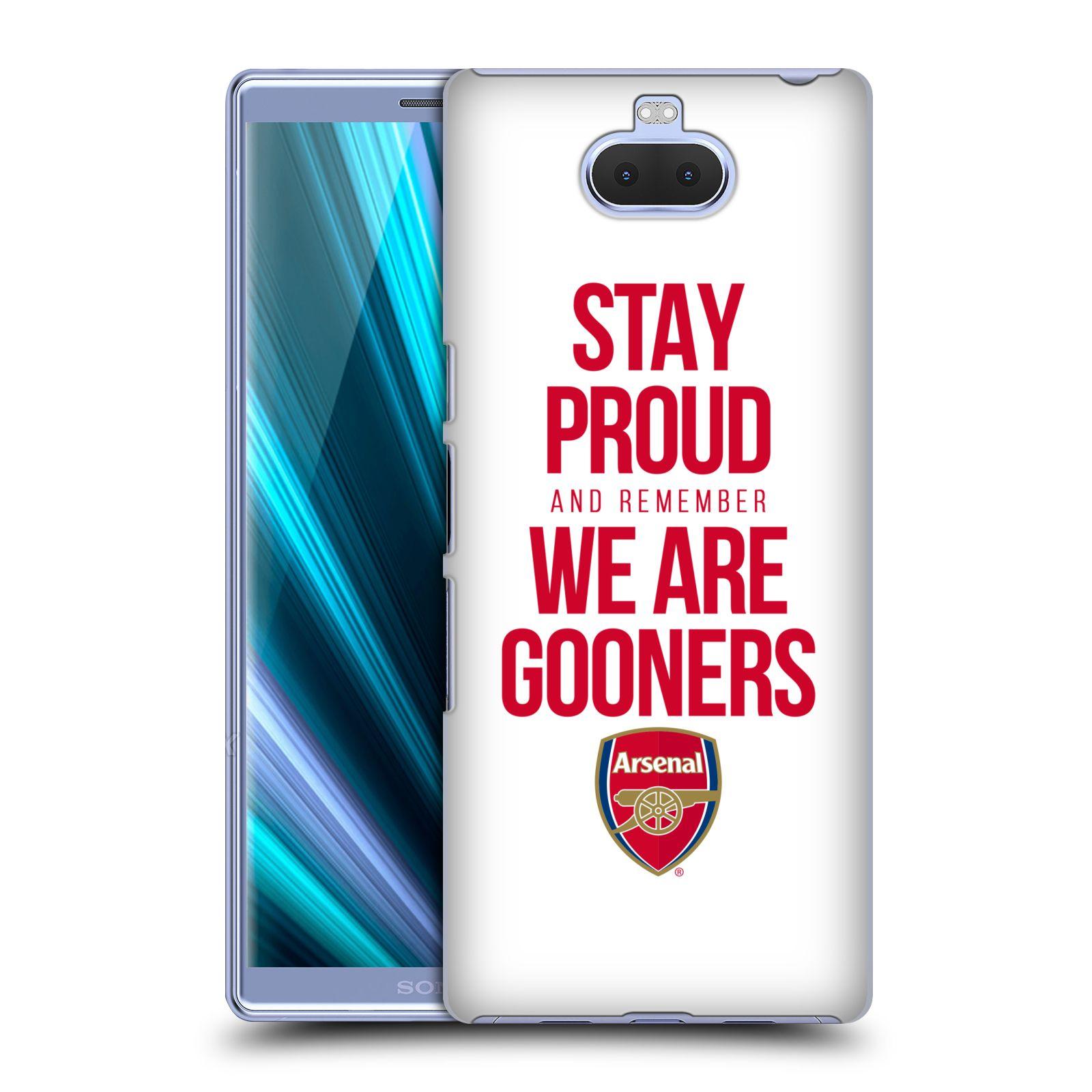 Pouzdro na mobil Sony Xperia 10 - Head Case - Fotbalový klub Arsenal hrdost bílé pozadí