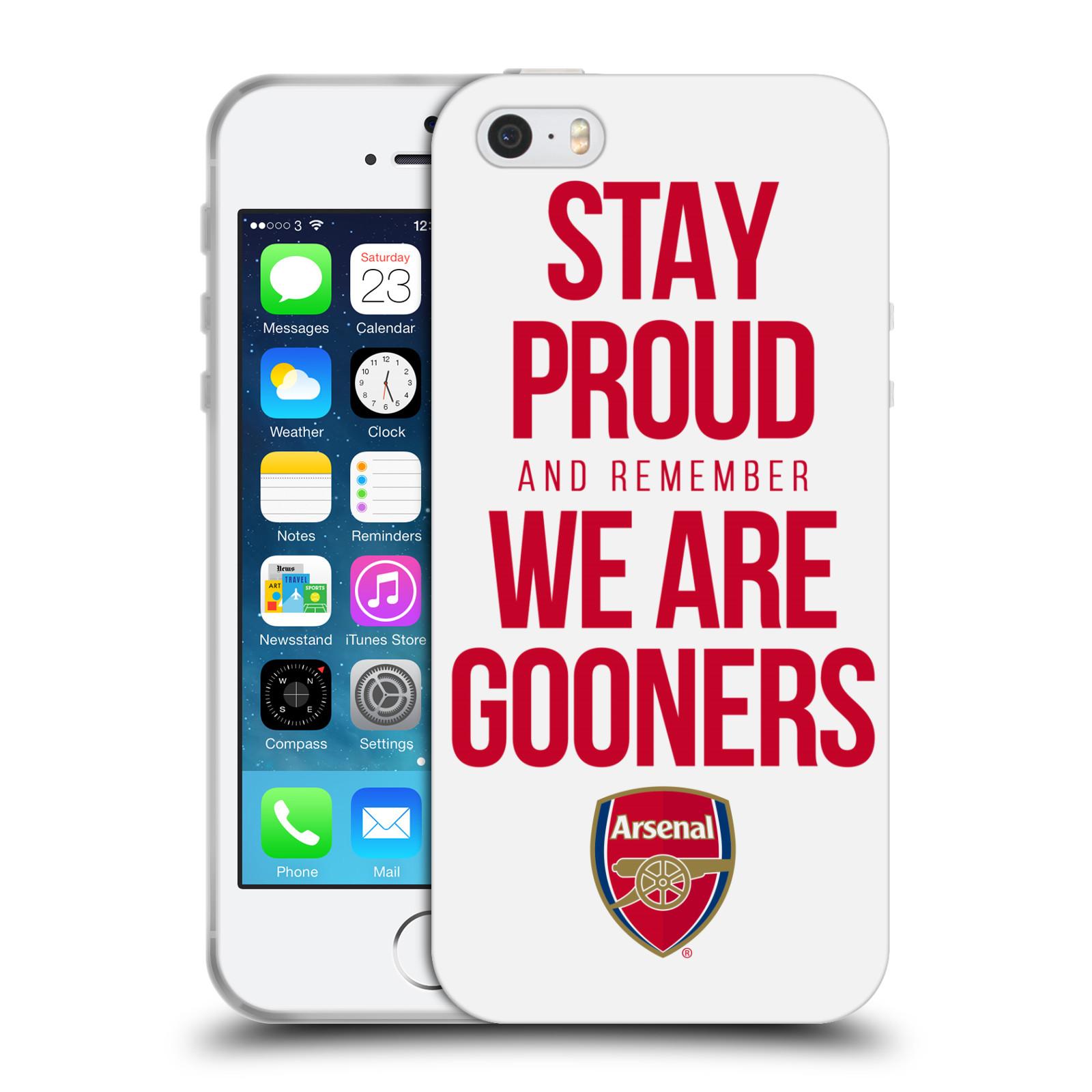 HEAD CASE silikonový obal na mobil Apple Iphone 5 5S Fotbalový klub Arsenal  hrdost bílé empty 7a82eb69598
