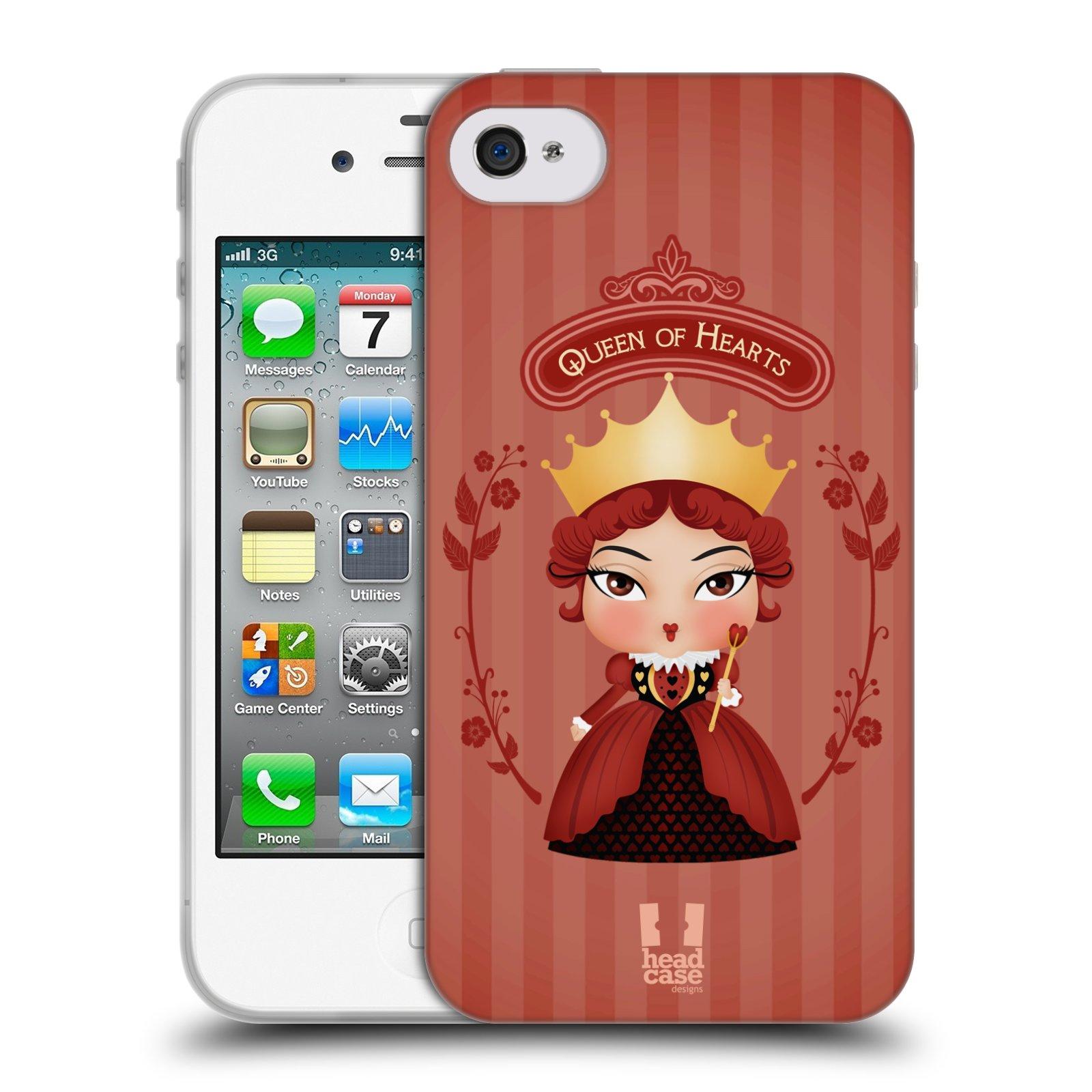HEAD CASE silikonový obal na mobil Apple Iphone 4/4S vzor Alenka v říši divů královna