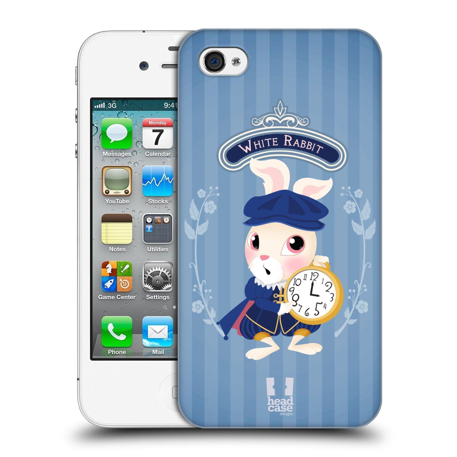HEAD CASE plastový obal na mobil Apple Iphone 4/4S vzor Alenka v říši divů králíček