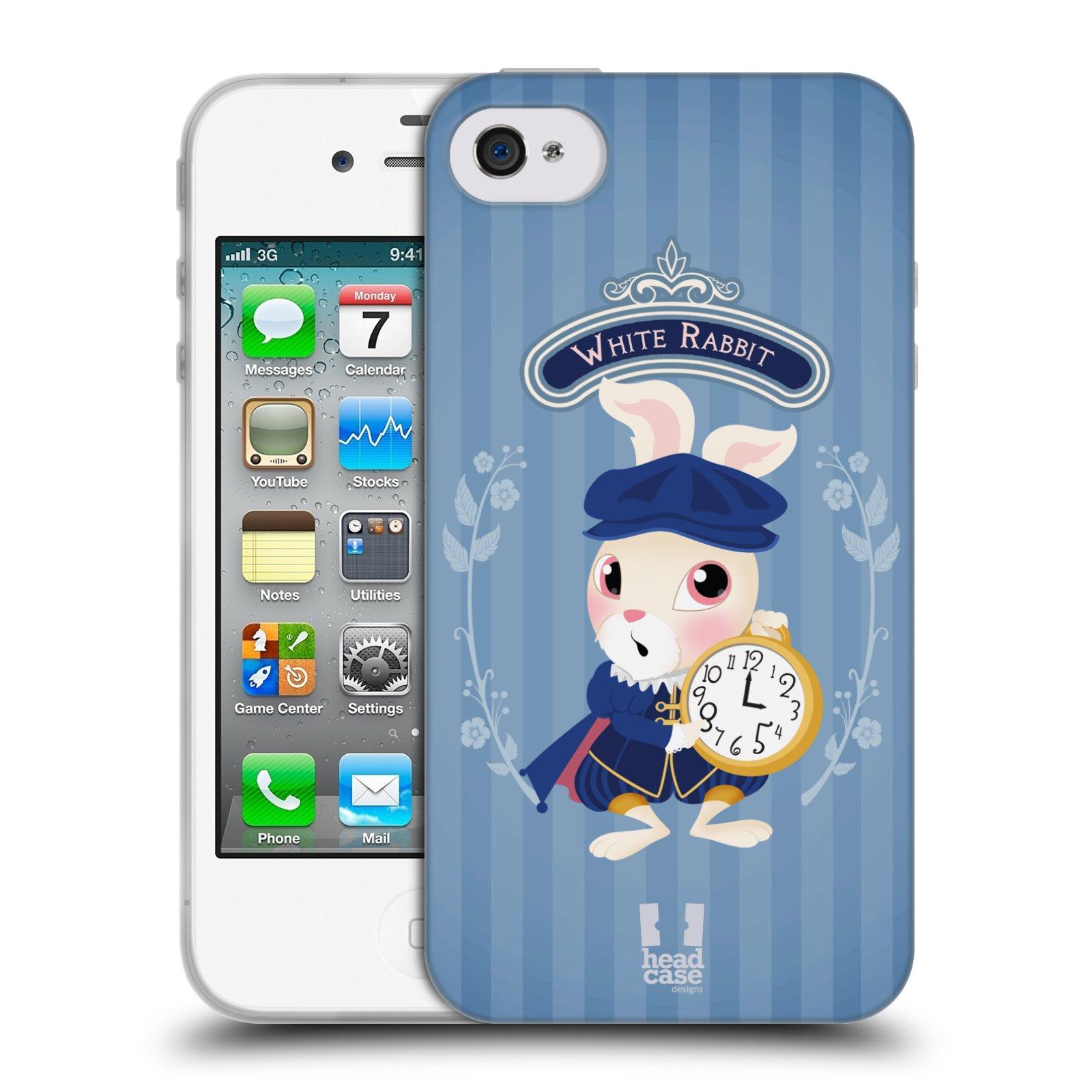 HEAD CASE silikonový obal na mobil Apple Iphone 4/4S vzor Alenka v říši divů králíček