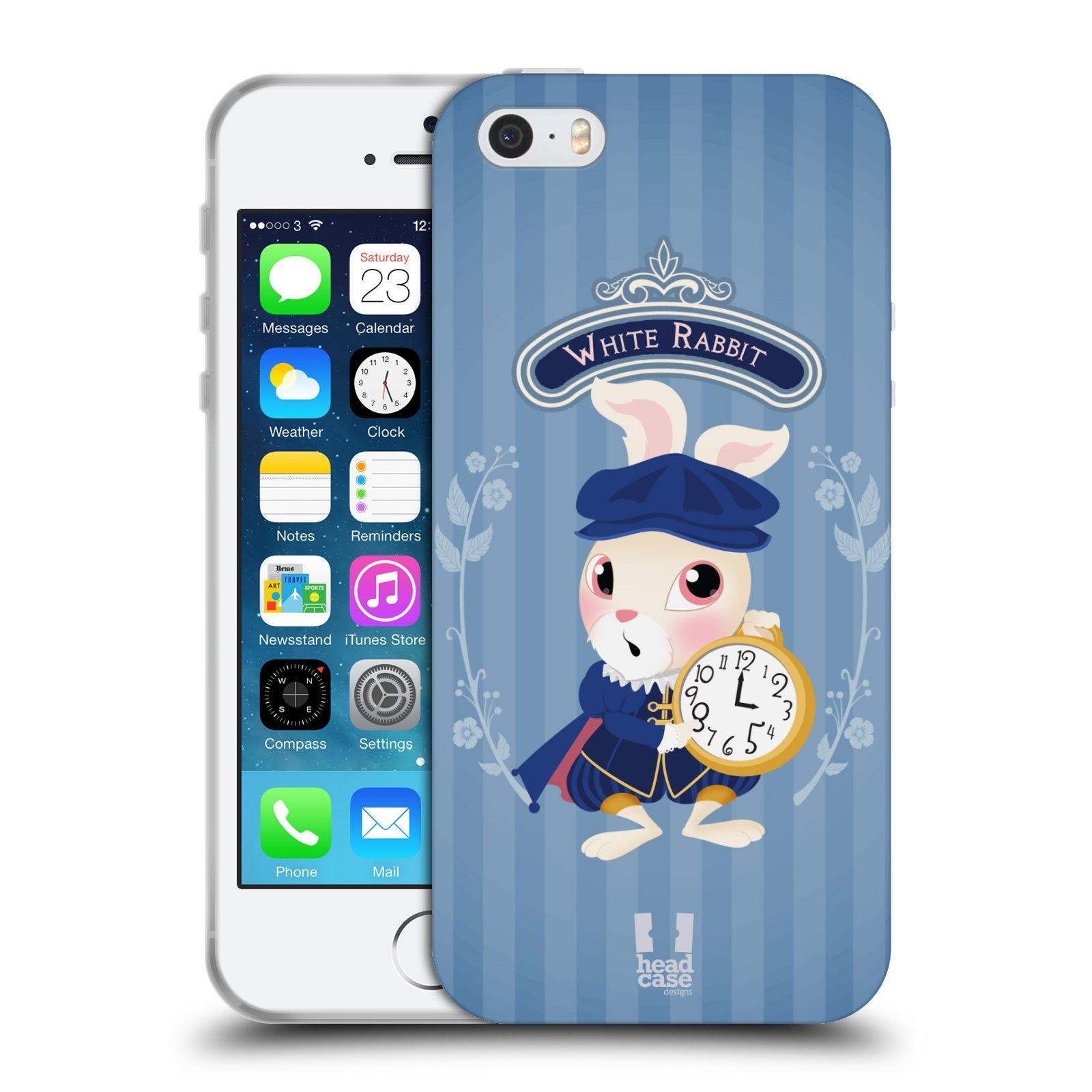 HEAD CASE silikonový obal na mobil Apple Iphone 5/5S vzor Alenka v říši divů králíček