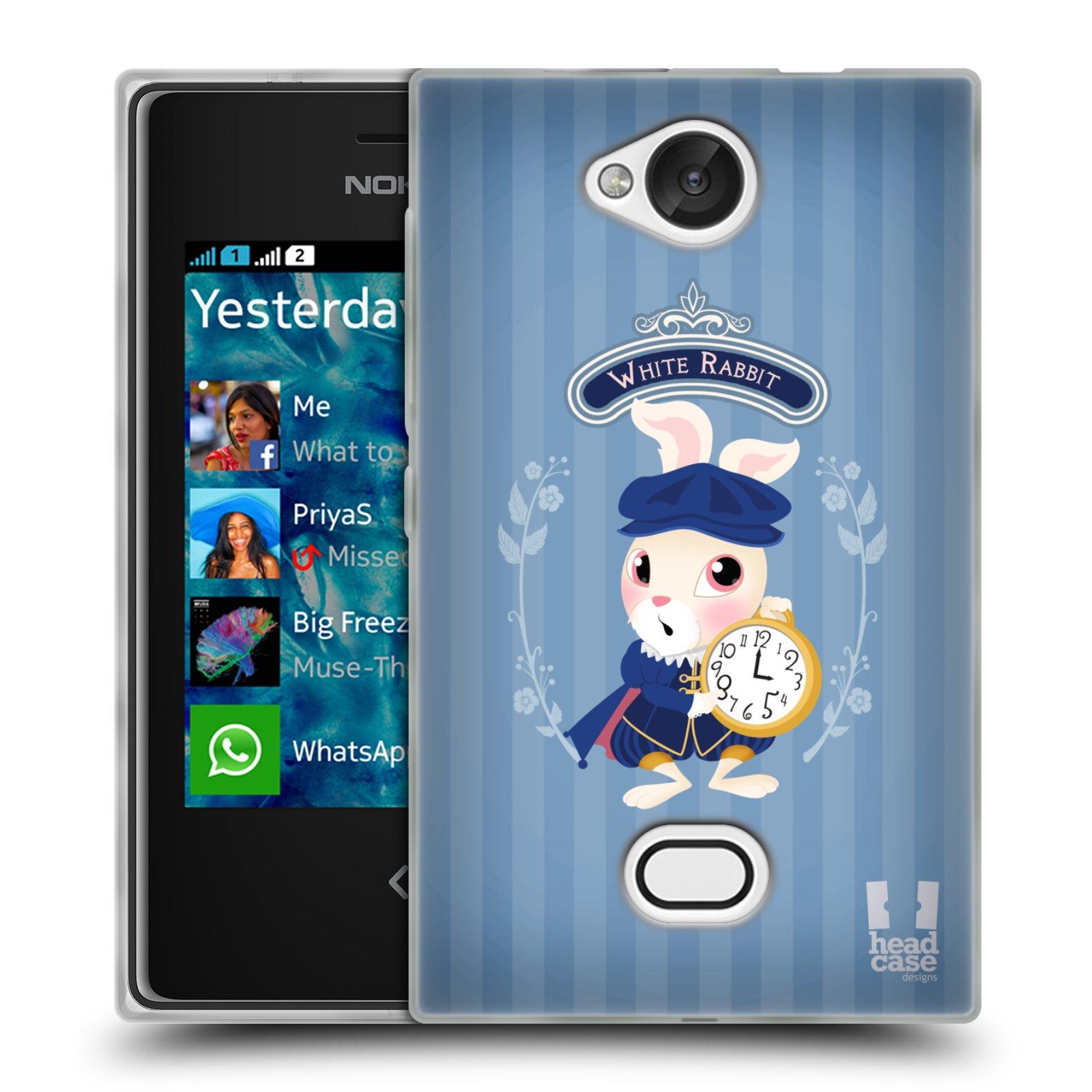 HEAD CASE silikonový obal na mobil NOKIA Asha 503 vzor Alenka v říši divů králíček