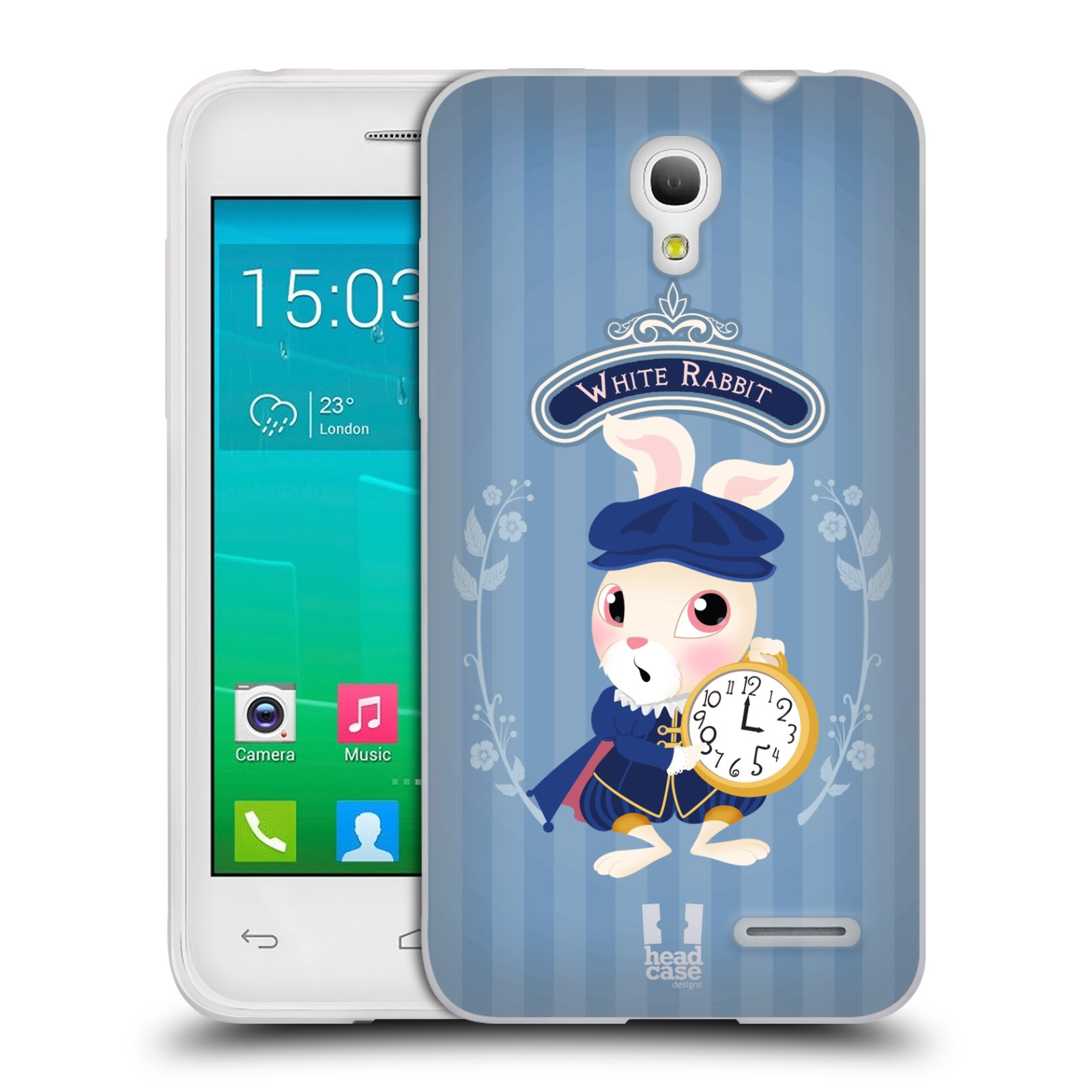 HEAD CASE silikonový obal na mobil Alcatel POP S3 OT-5050Y vzor Alenka v říši divů králíček