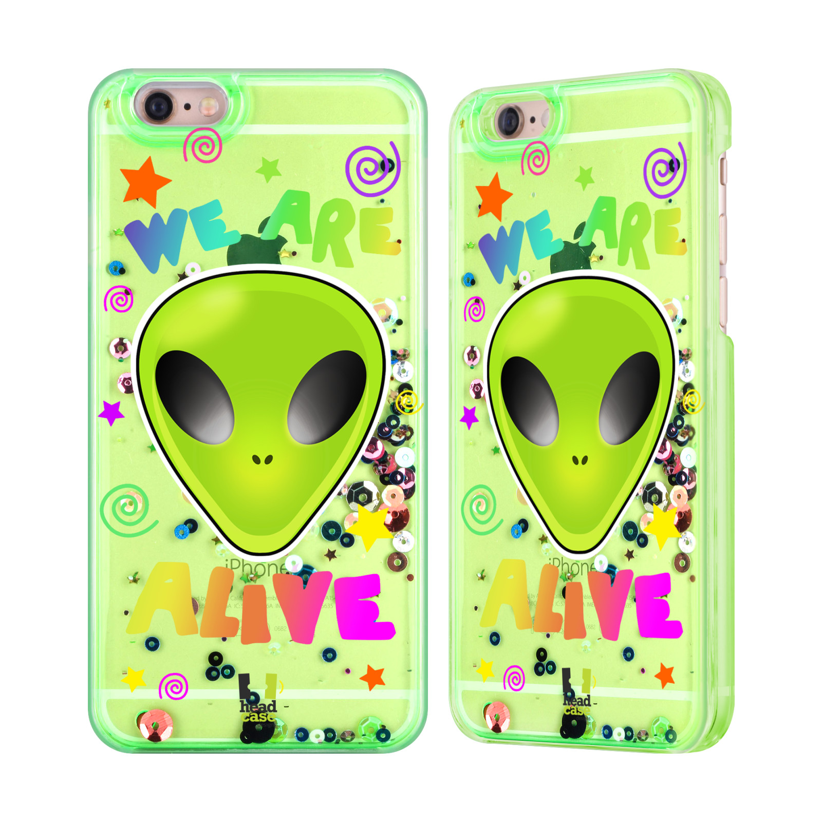 Android Bluetooth Keyboard Emoji: HEAD CASE ALIEN EMOJI GREEN SEQUINS AND STAR FOR APPLE IPHONE SAMSUNG PHONES