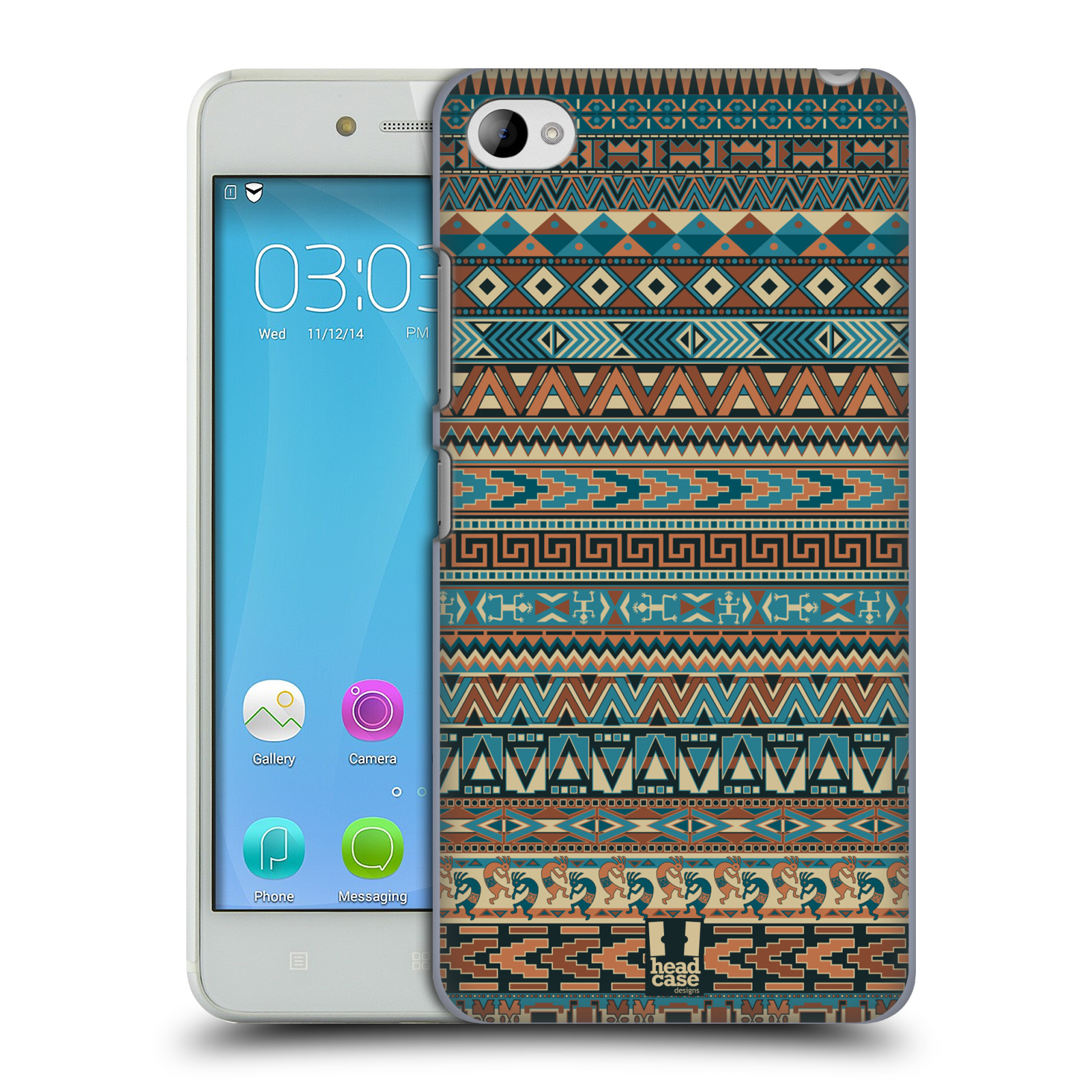 HEAD CASE pevný plastový obal na mobil LENOVO S90 vzor Indiánský vzor MODRÁ