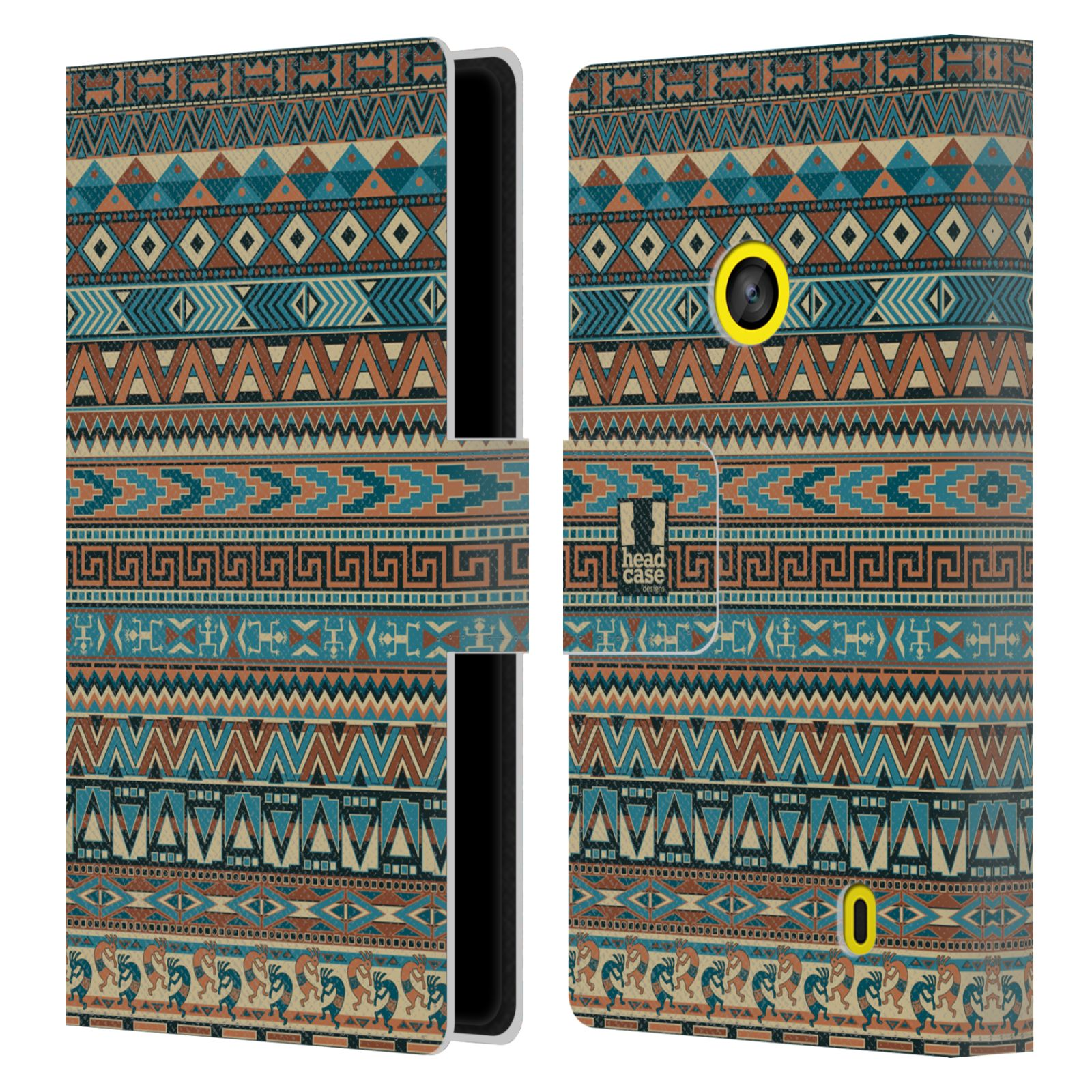 HEAD CASE Flipové pouzdro pro mobil NOKIA LUMIA 520 / 525 Indiánský vzor BLUE modrá