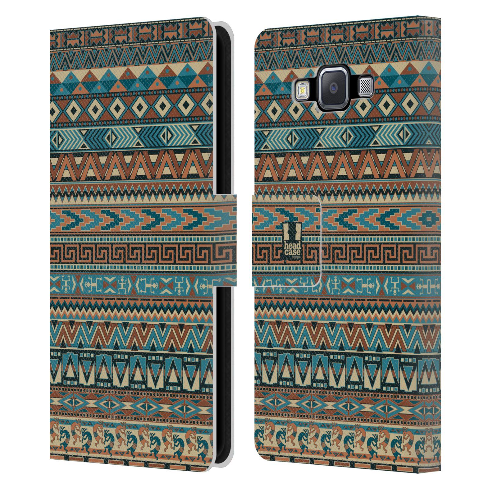 HEAD CASE Flipové pouzdro pro mobil Samsung Galaxy A5 Indiánský vzor BLUE modrá