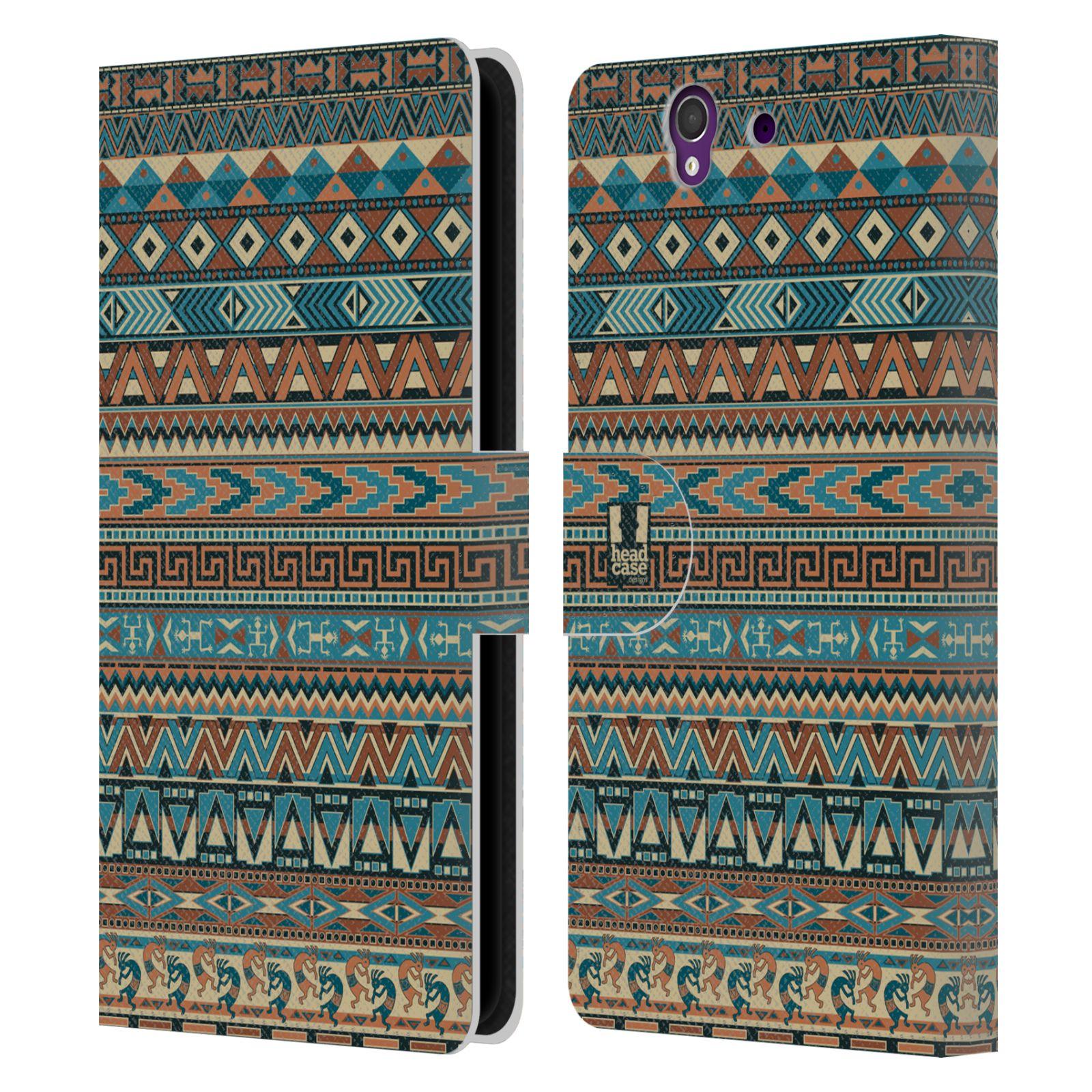 HEAD CASE Flipové pouzdro pro mobil SONY XPERIA Z (C6603) Indiánský vzor BLUE modrá