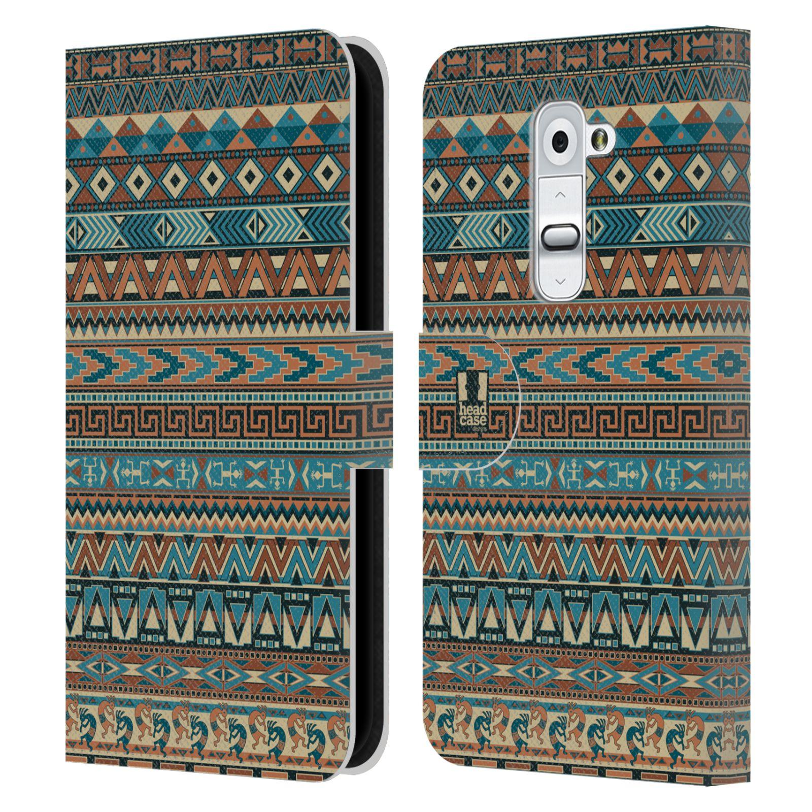 HEAD CASE Flipové pouzdro pro mobil LG G2 (D802) Indiánský vzor BLUE modrá