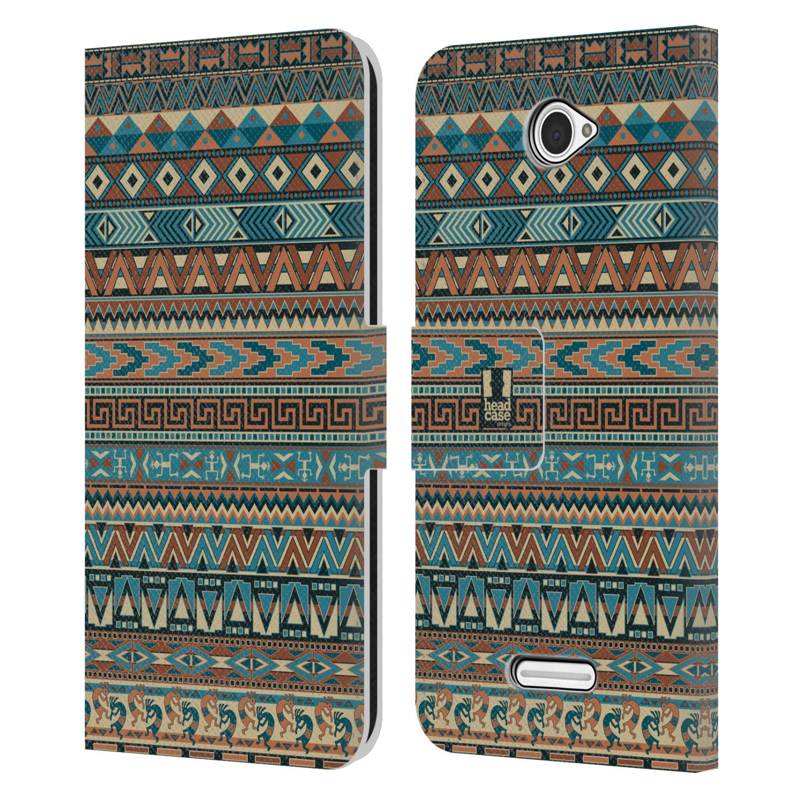 HEAD CASE Flipové pouzdro pro mobil SONY XPERIA E4 Indiánský vzor BLUE modrá