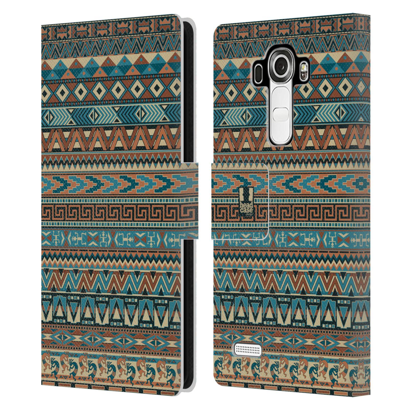 HEAD CASE Flipové pouzdro pro mobil LG G4 (H815) Indiánský vzor BLUE modrá