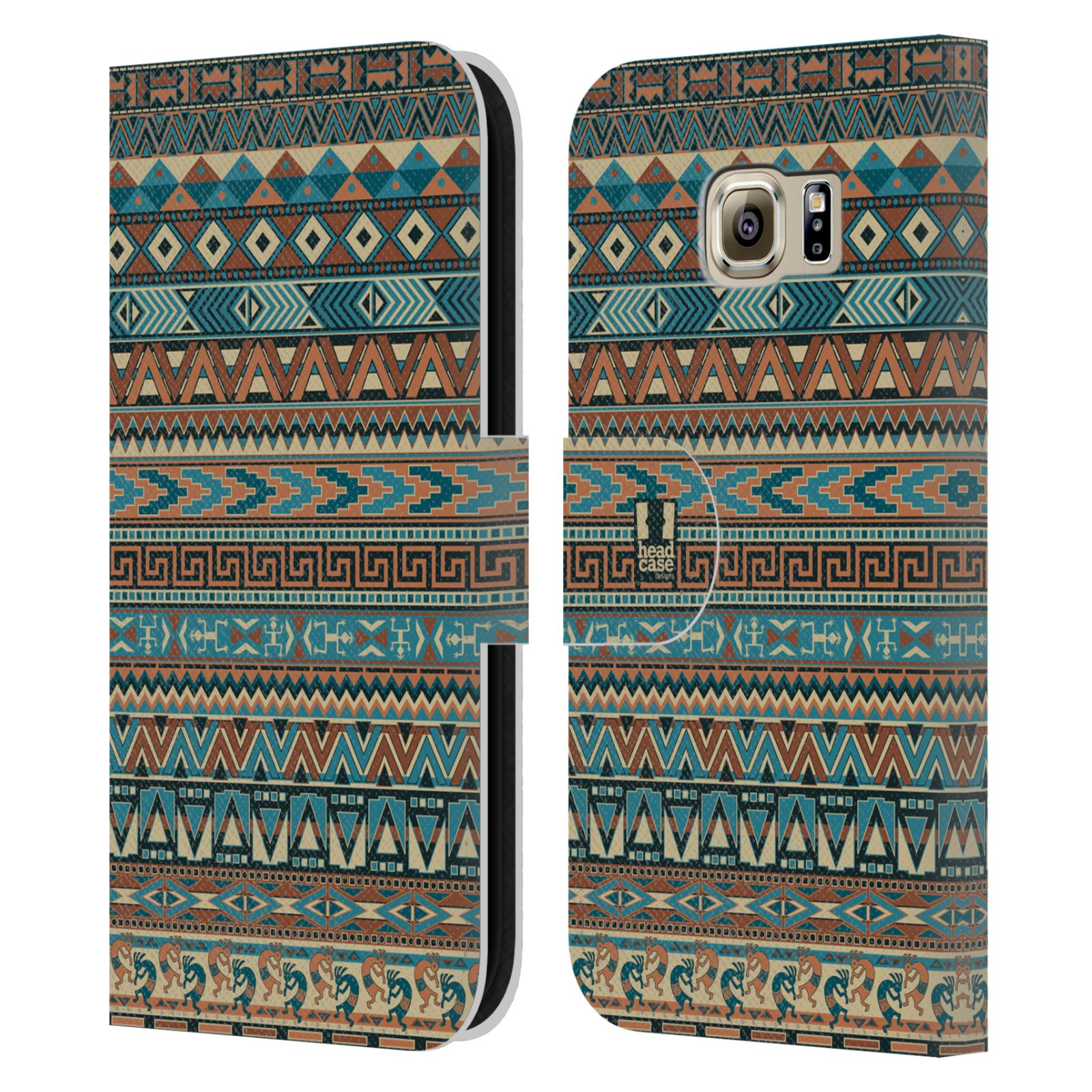 HEAD CASE Flipové pouzdro pro mobil Samsung Galaxy S6 (G9200) Indiánský vzor BLUE modrá