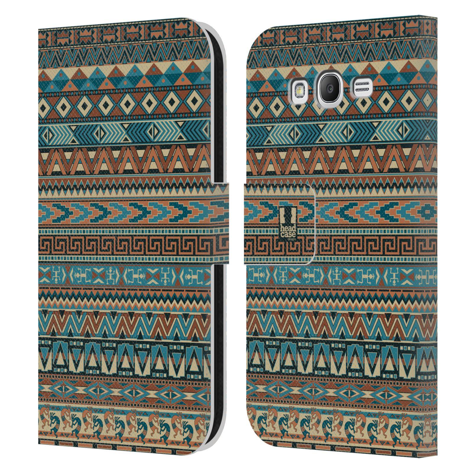 HEAD CASE Flipové pouzdro pro mobil Samsung Galaxy Grand i9080 Indiánský vzor BLUE modrá