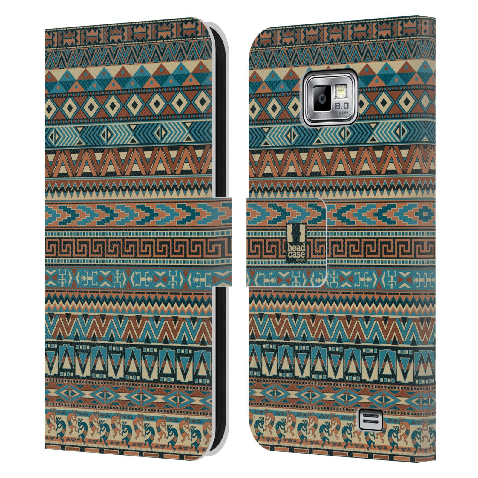 HEAD CASE Flipové pouzdro pro mobil Samsung Galaxy S2 i9100 Indiánský vzor  BLUE modrá 08dfca77964