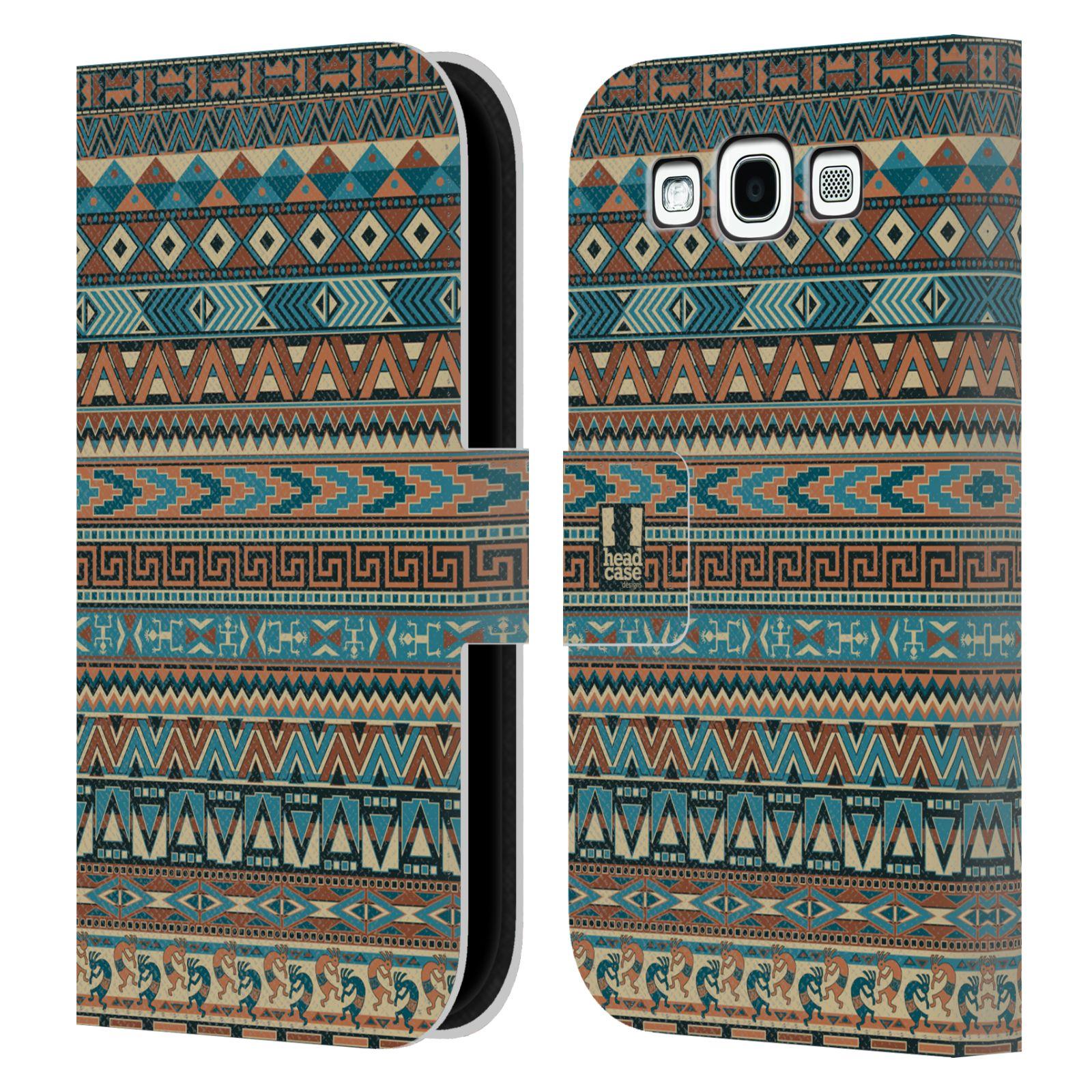 HEAD CASE Flipové pouzdro pro mobil Samsung Galaxy S3 Indiánský vzor BLUE modrá