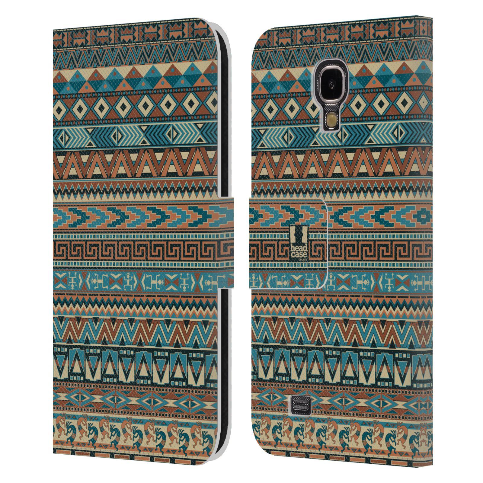 HEAD CASE Flipové pouzdro pro mobil Samsung Galaxy S4 Indiánský vzor BLUE modrá