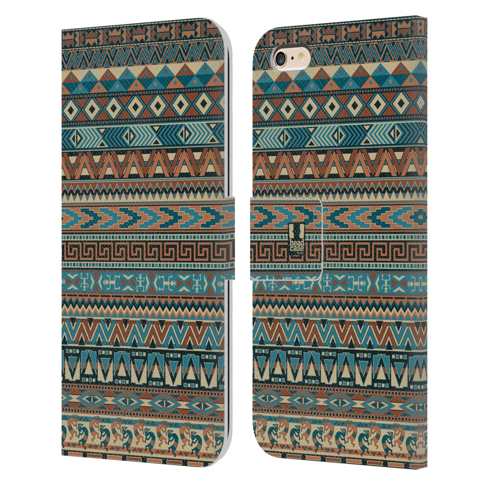 HEAD CASE Flipové pouzdro pro mobil Apple Iphone 6 PLUS / 6S PLUS Indiánský vzor BLUE modrá