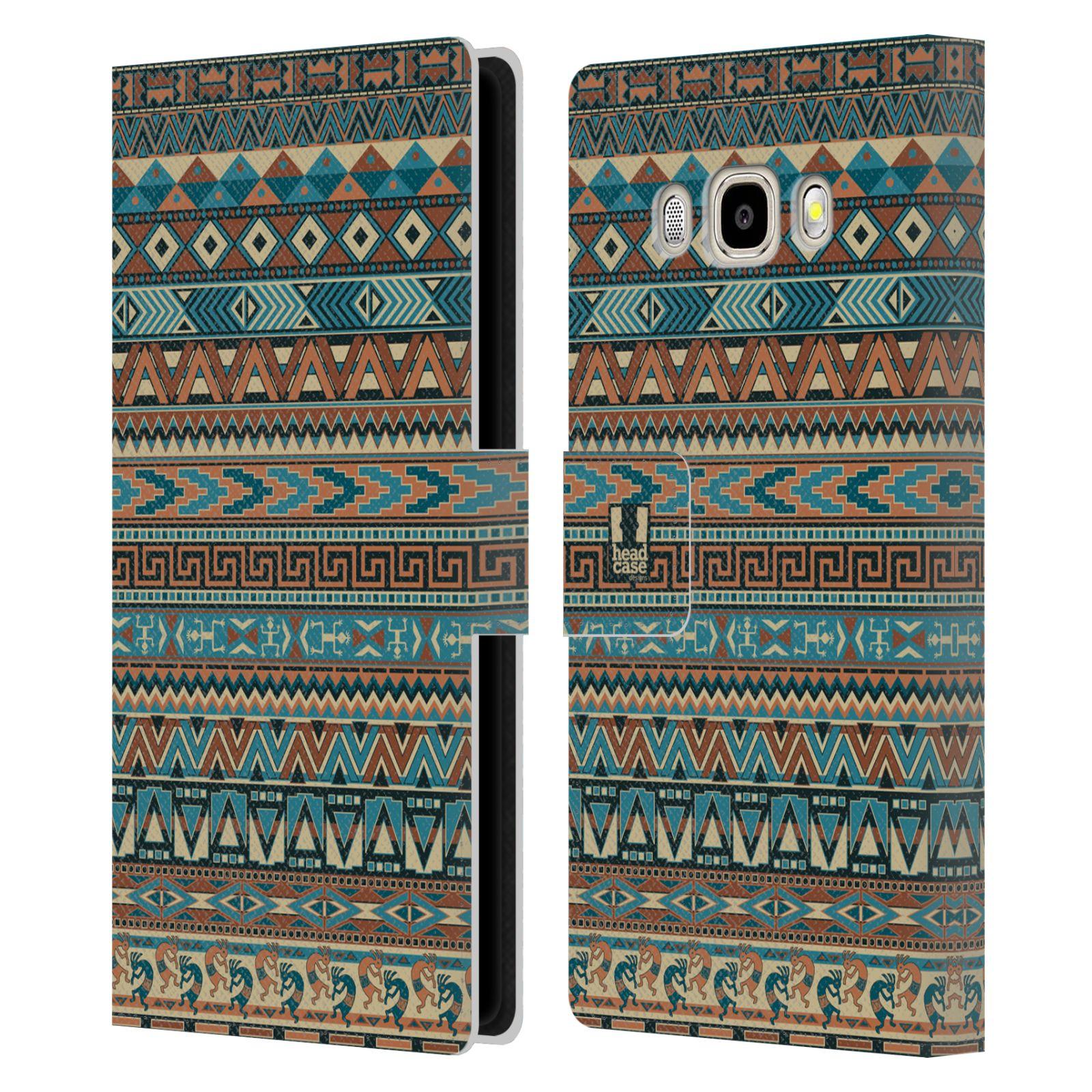 HEAD CASE Flipové pouzdro pro mobil Samsung Galaxy J5 2016 Indiánský vzor BLUE modrá