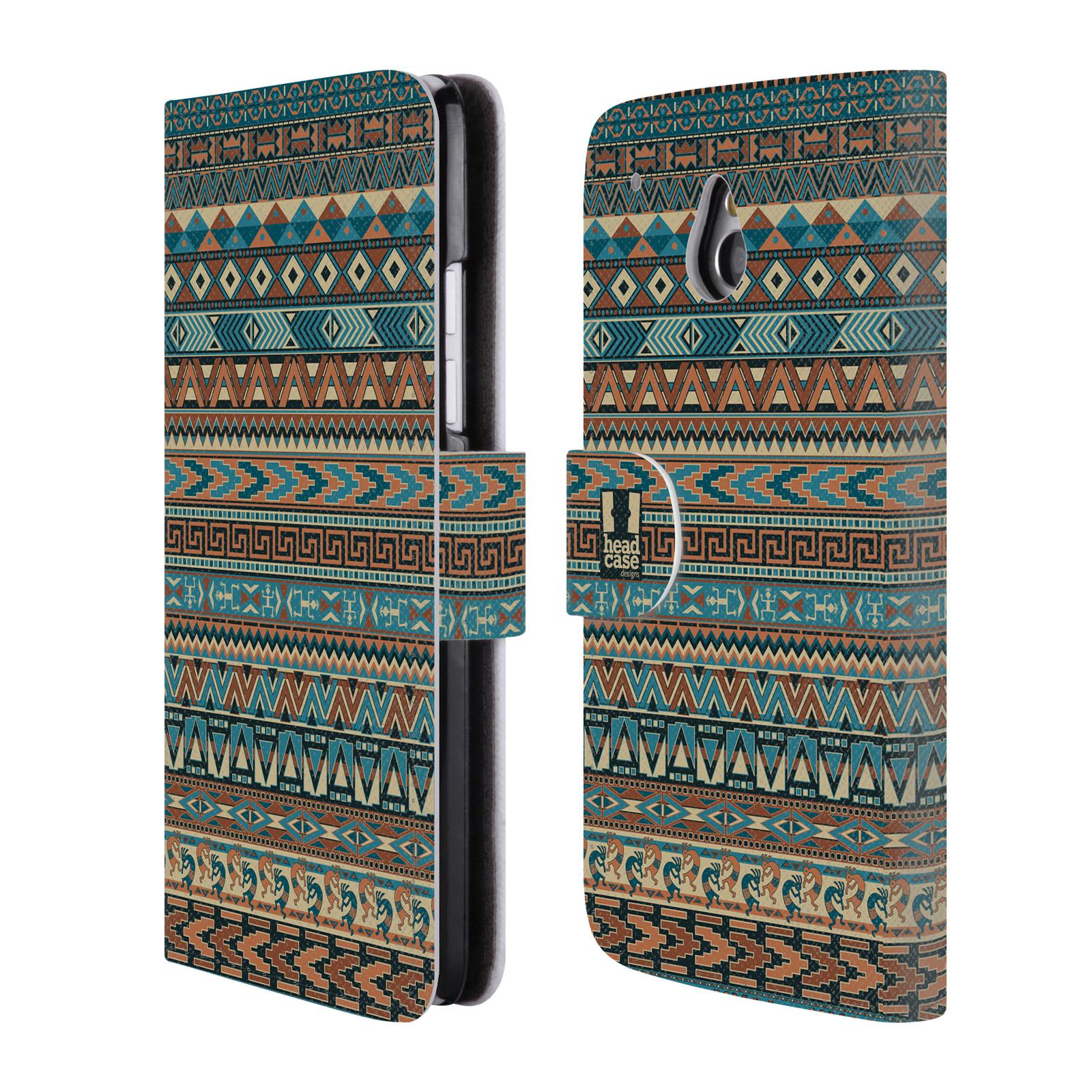 HEAD CASE Flipové pouzdro pro mobil HTC ONE MINI (M4) Indiánský vzor BLUE modrá