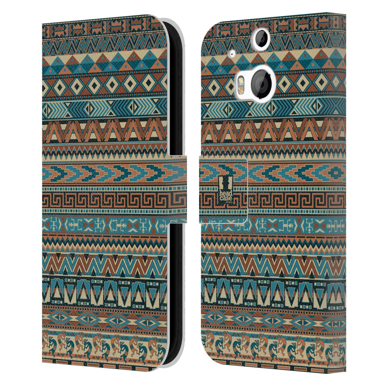 HEAD CASE Flipové pouzdro pro mobil HTC ONE (M8, M8s) Indiánský vzor BLUE modrá