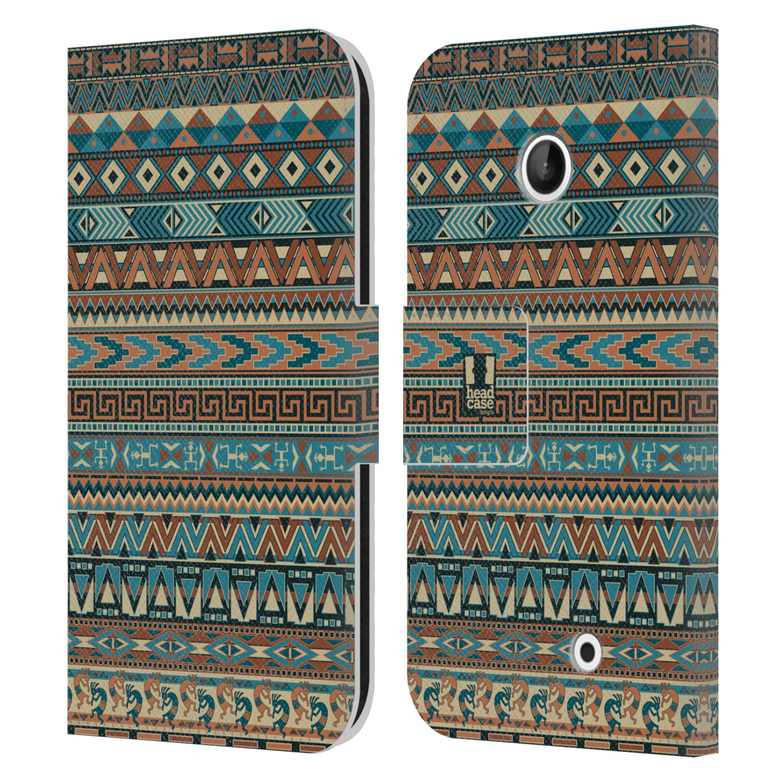HEAD CASE Flipové pouzdro pro mobil NOKIA LUMIA 630 / LUMIA 630 DUAL Indiánský vzor BLUE modrá