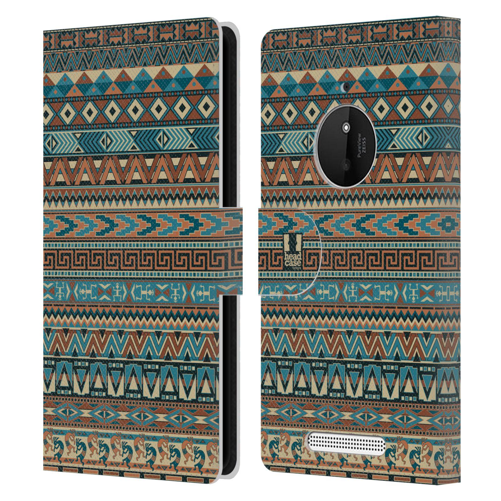 HEAD CASE Flipové pouzdro pro mobil NOKIA LUMIA 830 Indiánský vzor BLUE modrá
