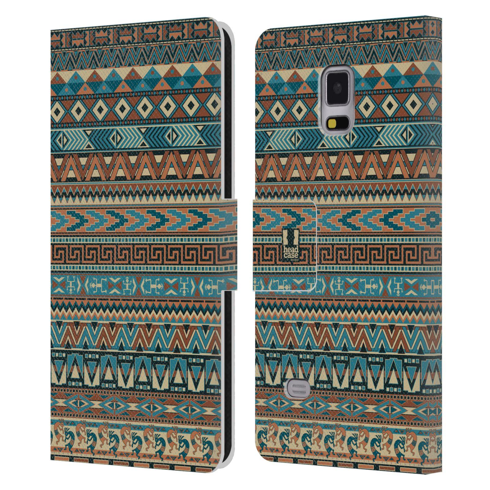 HEAD CASE Flipové pouzdro pro mobil Samsung Galaxy Note 4 Indiánský vzor BLUE modrá
