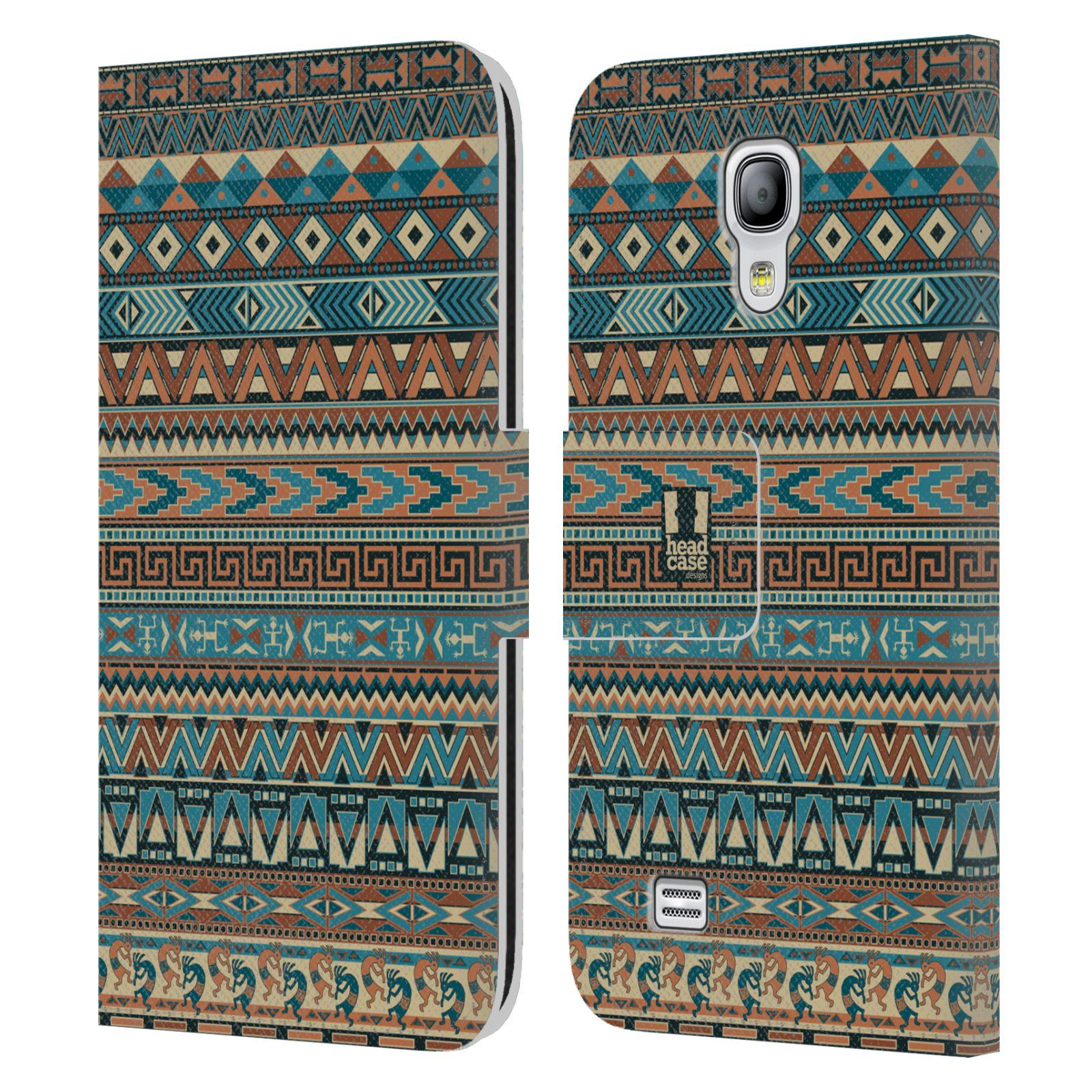 HEAD CASE Flipové pouzdro pro mobil Samsung Galaxy S4 MINI / S4 MINI DUOS Indiánský vzor BLUE modrá