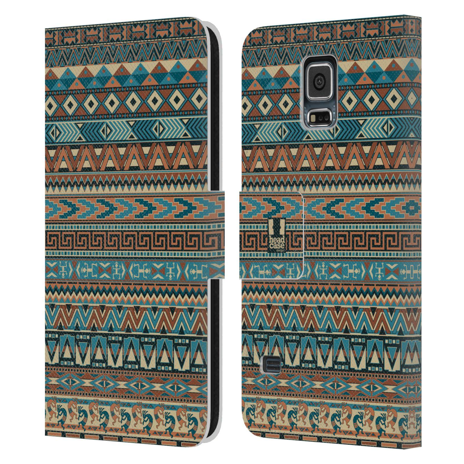 HEAD CASE Flipové pouzdro pro mobil Samsung Galaxy S5 / S5 NEO Indiánský vzor BLUE modrá
