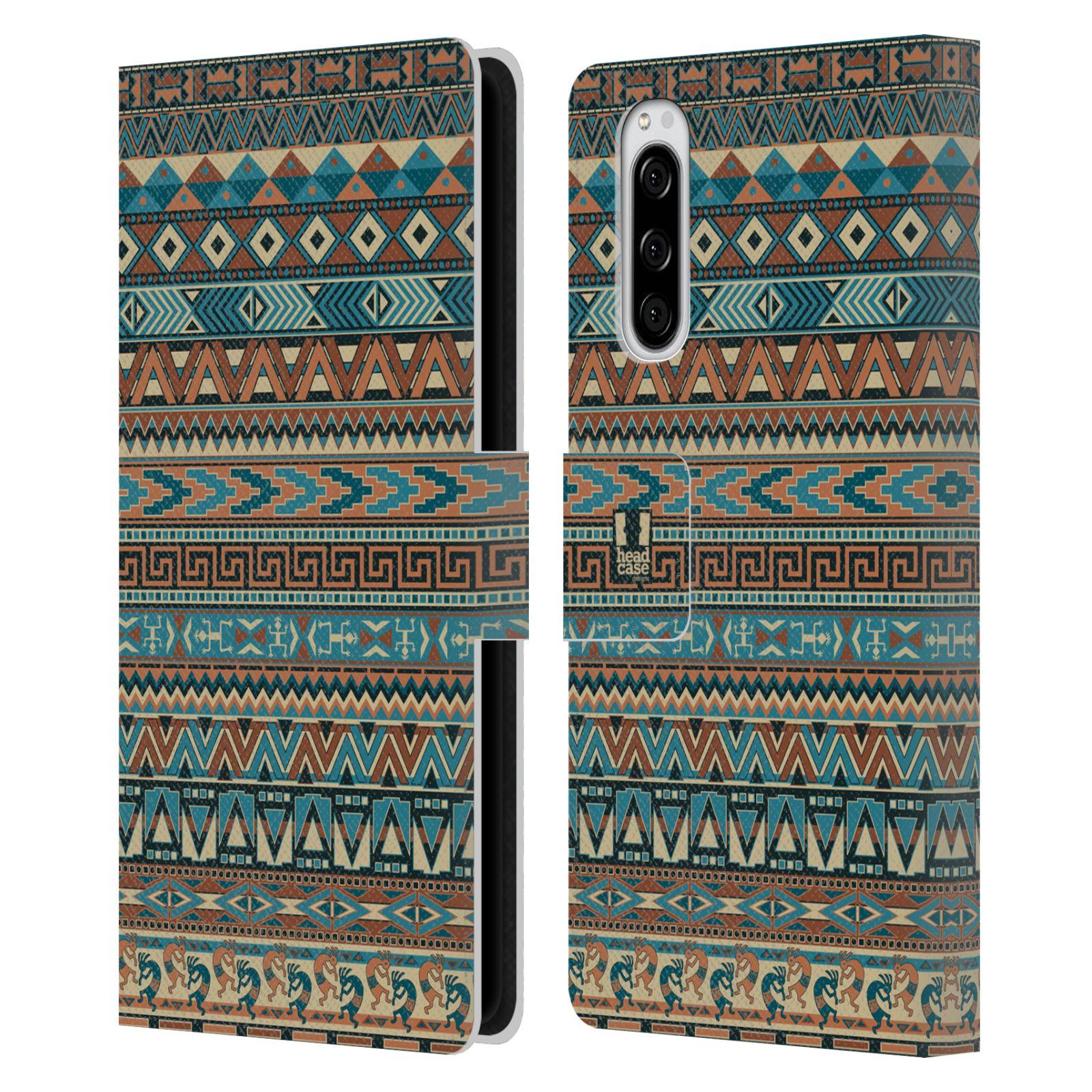 Pouzdro na mobil Sony Xperia 5 Indiánský vzor BLUE modrá