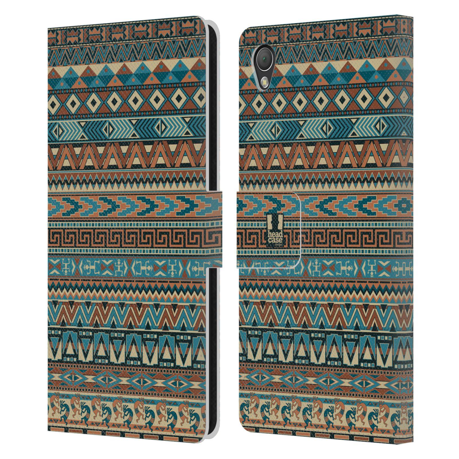 HEAD CASE Flipové pouzdro pro mobil SONY XPERIA Z3 Indiánský vzor BLUE modrá