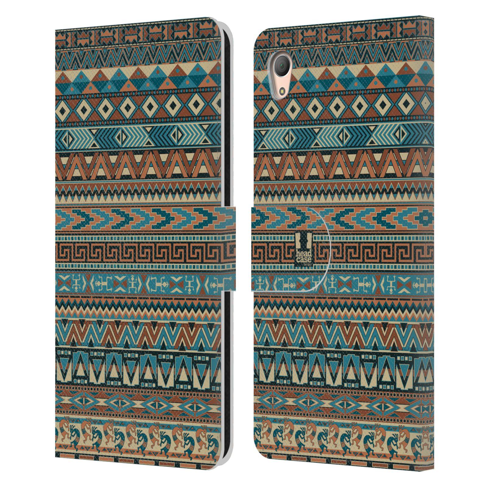 HEAD CASE Flipové pouzdro pro mobil SONY XPERIA Z3+ (PLUS) Indiánský vzor BLUE modrá