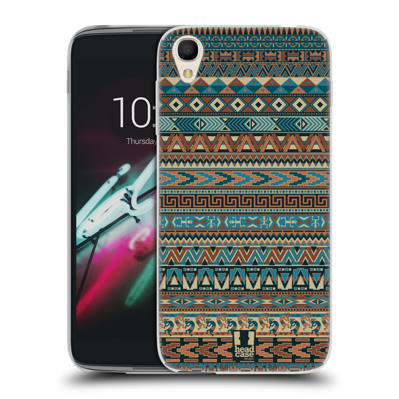 HEAD CASE silikonový obal na mobil Alcatel Idol 3 OT-6039Y (4.7) vzor Indiánský vzor MODRÁ