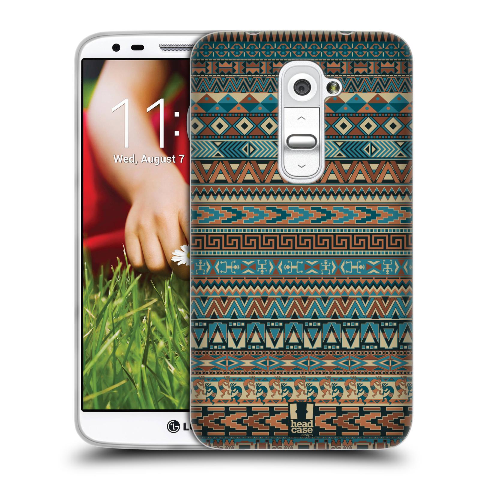HEAD CASE silikonový obal na mobil LG G2 vzor Indiánský vzor MODRÁ