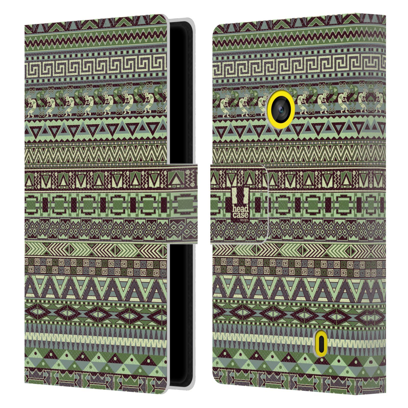 HEAD CASE Flipové pouzdro pro mobil NOKIA LUMIA 520 / 525 Indiánský vzor GREEN zelená