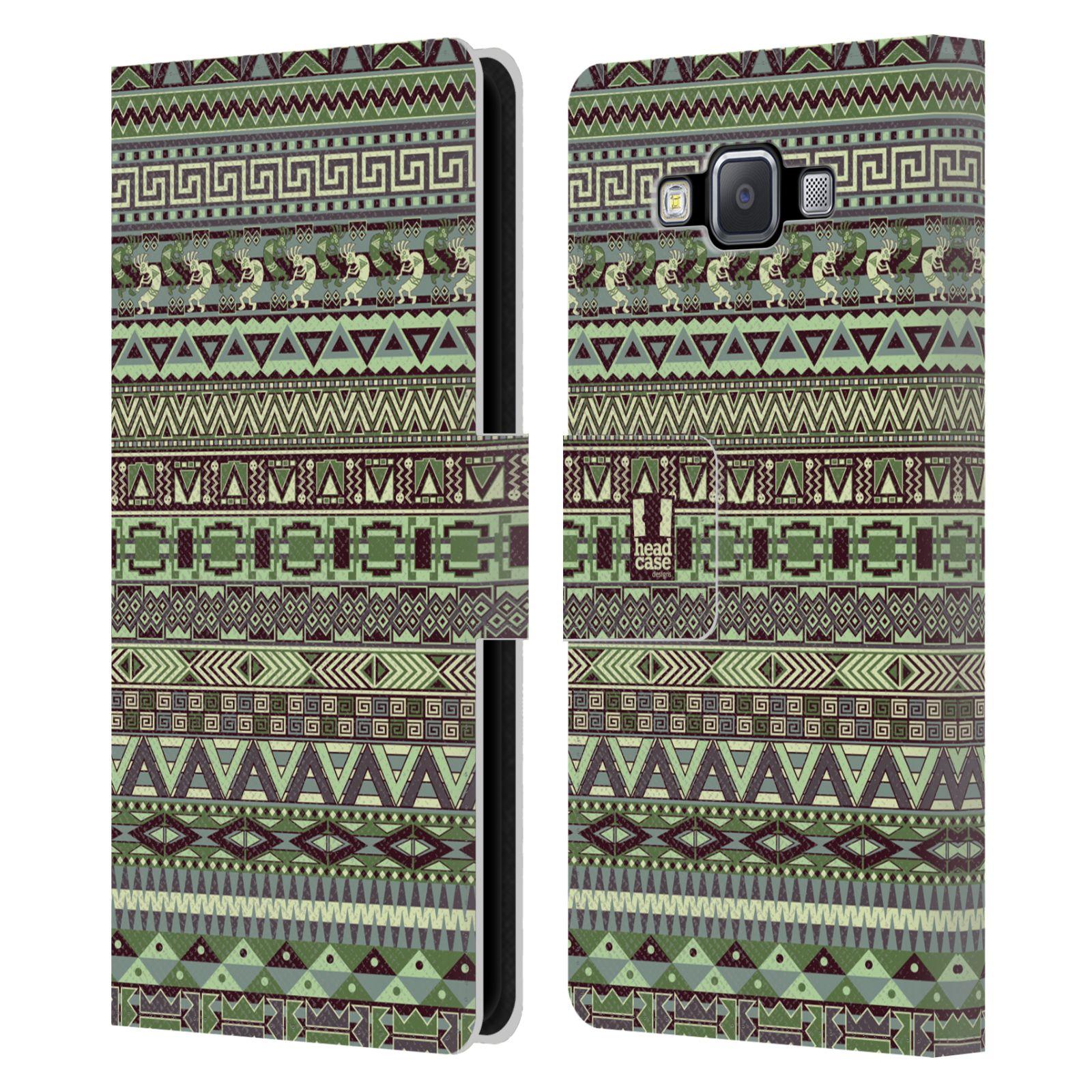 HEAD CASE Flipové pouzdro pro mobil Samsung Galaxy A5 Indiánský vzor GREEN zelená