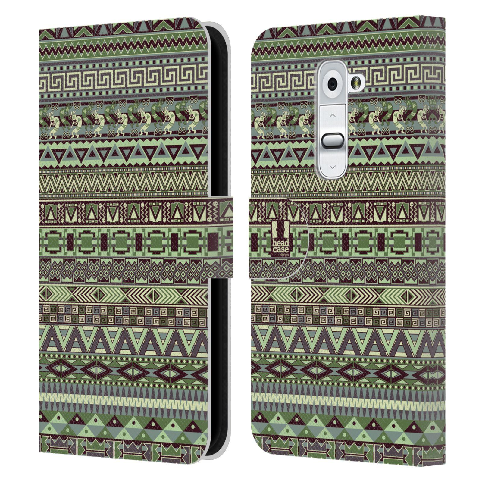 HEAD CASE Flipové pouzdro pro mobil LG G2 (D802) Indiánský vzor GREEN zelená