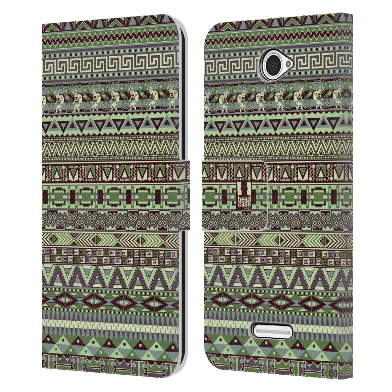 HEAD CASE Flipové pouzdro pro mobil SONY XPERIA E4 Indiánský vzor GREEN zelená