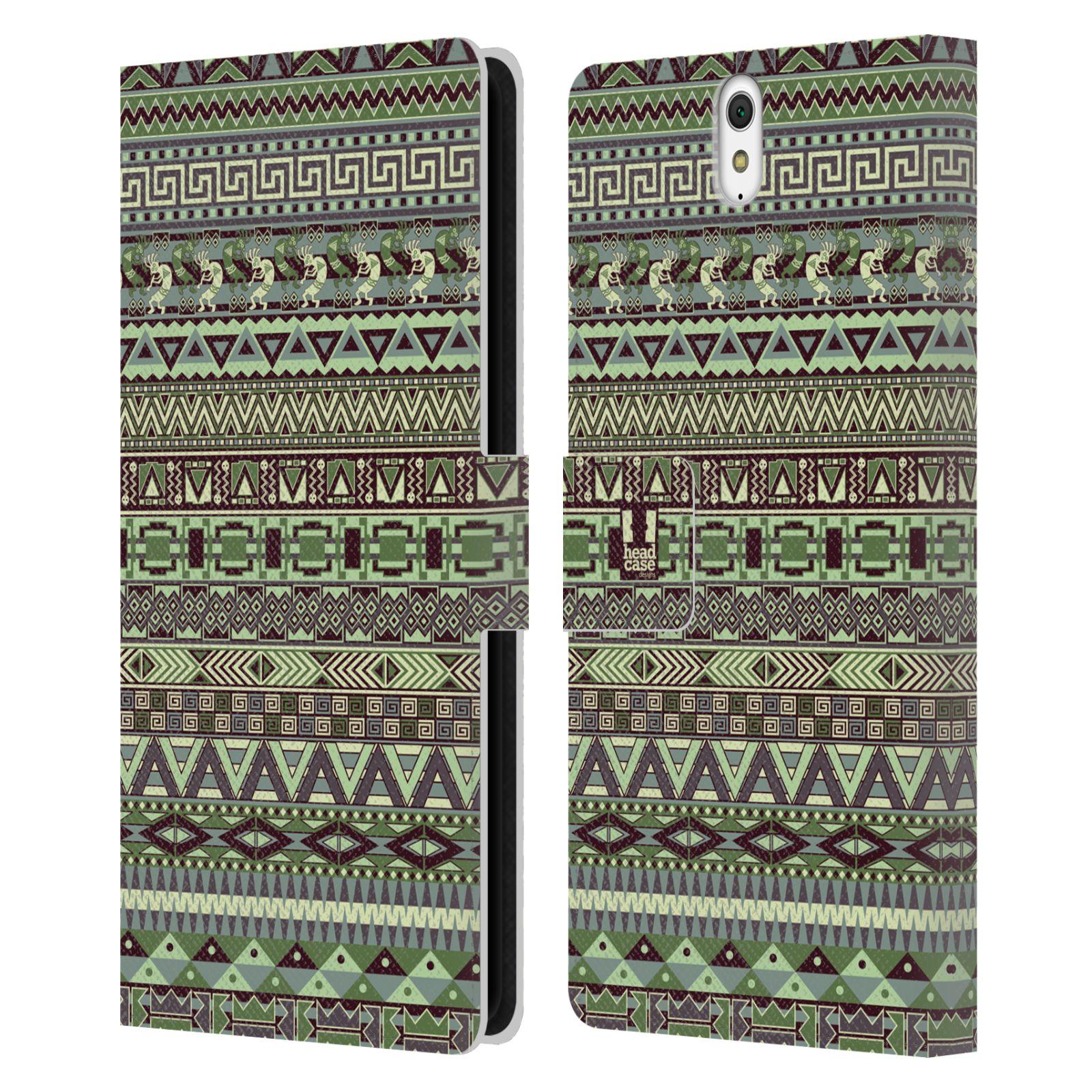 HEAD CASE Flipové pouzdro pro mobil SONY XPERIA C5 Ultra Indiánský vzor GREEN zelená