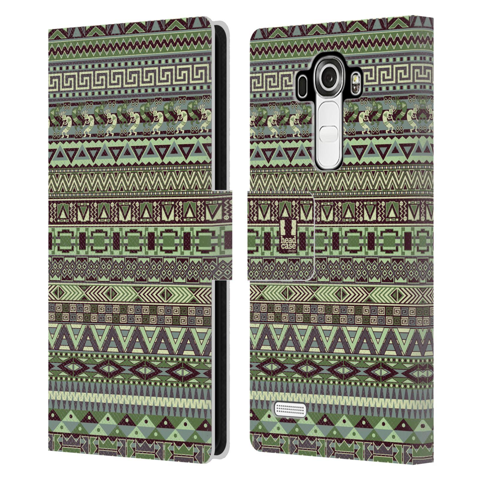 HEAD CASE Flipové pouzdro pro mobil LG G4 (H815) Indiánský vzor GREEN zelená