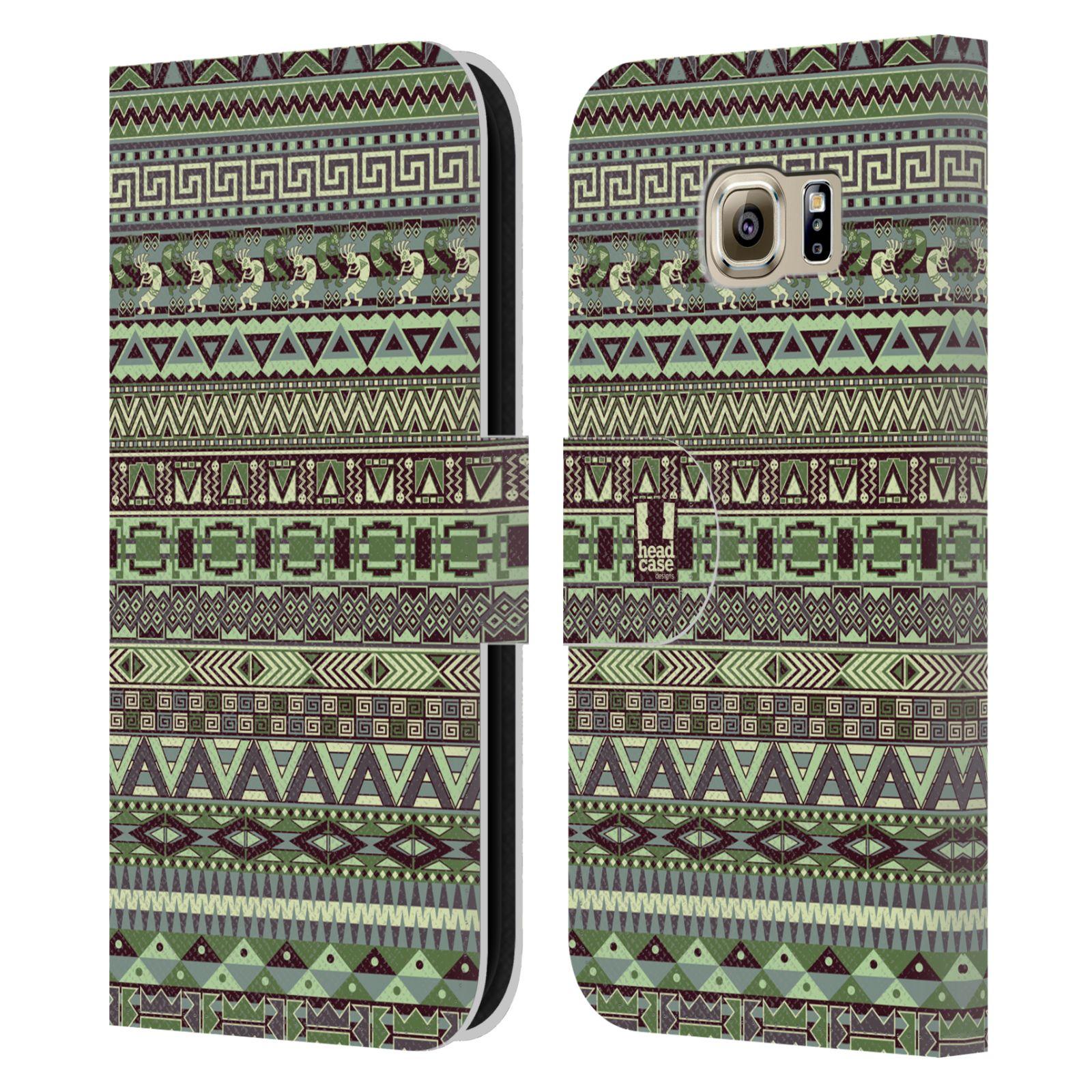 HEAD CASE Flipové pouzdro pro mobil Samsung Galaxy S6 (G9200) Indiánský vzor GREEN zelená