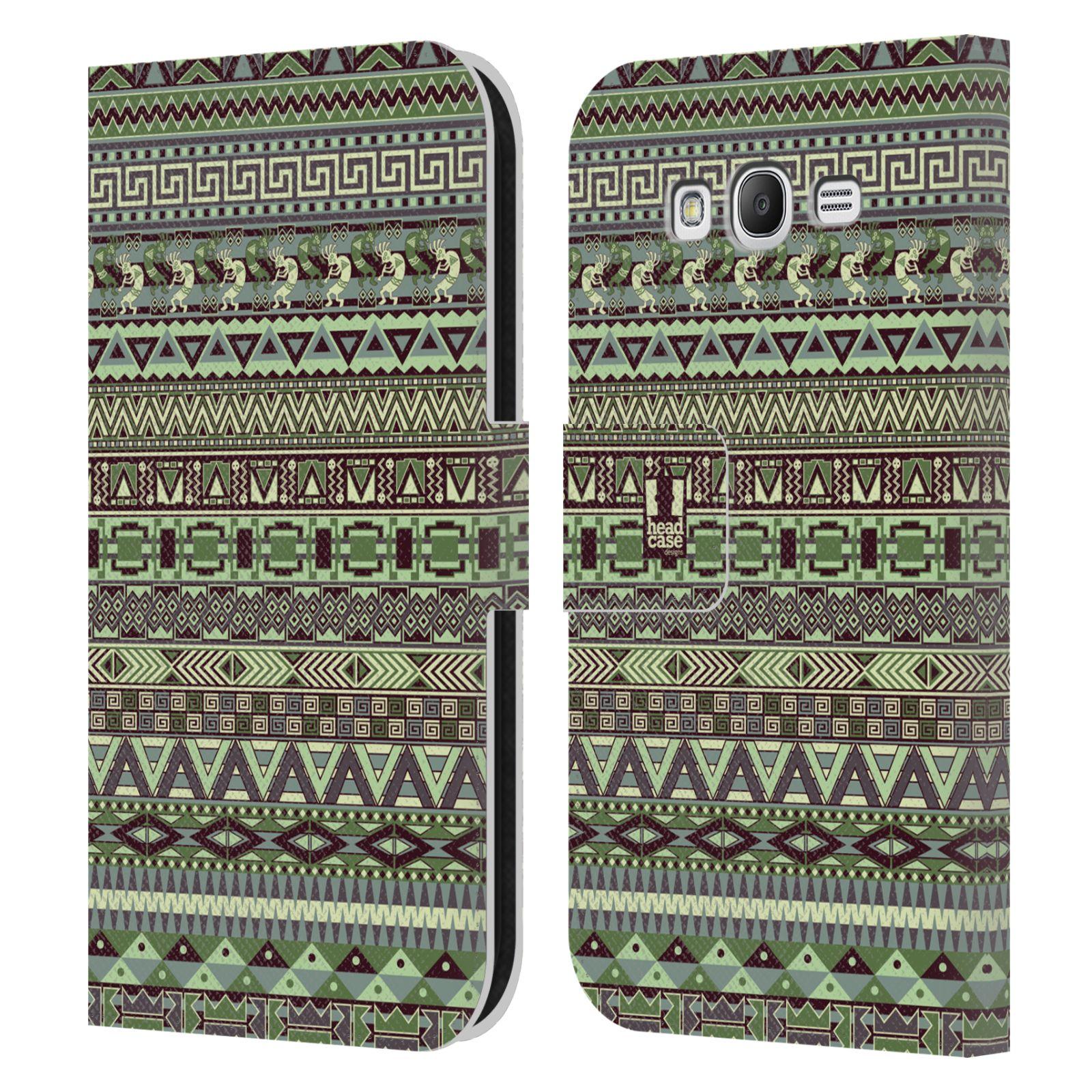 HEAD CASE Flipové pouzdro pro mobil Samsung Galaxy Grand i9080 Indiánský vzor GREEN zelená