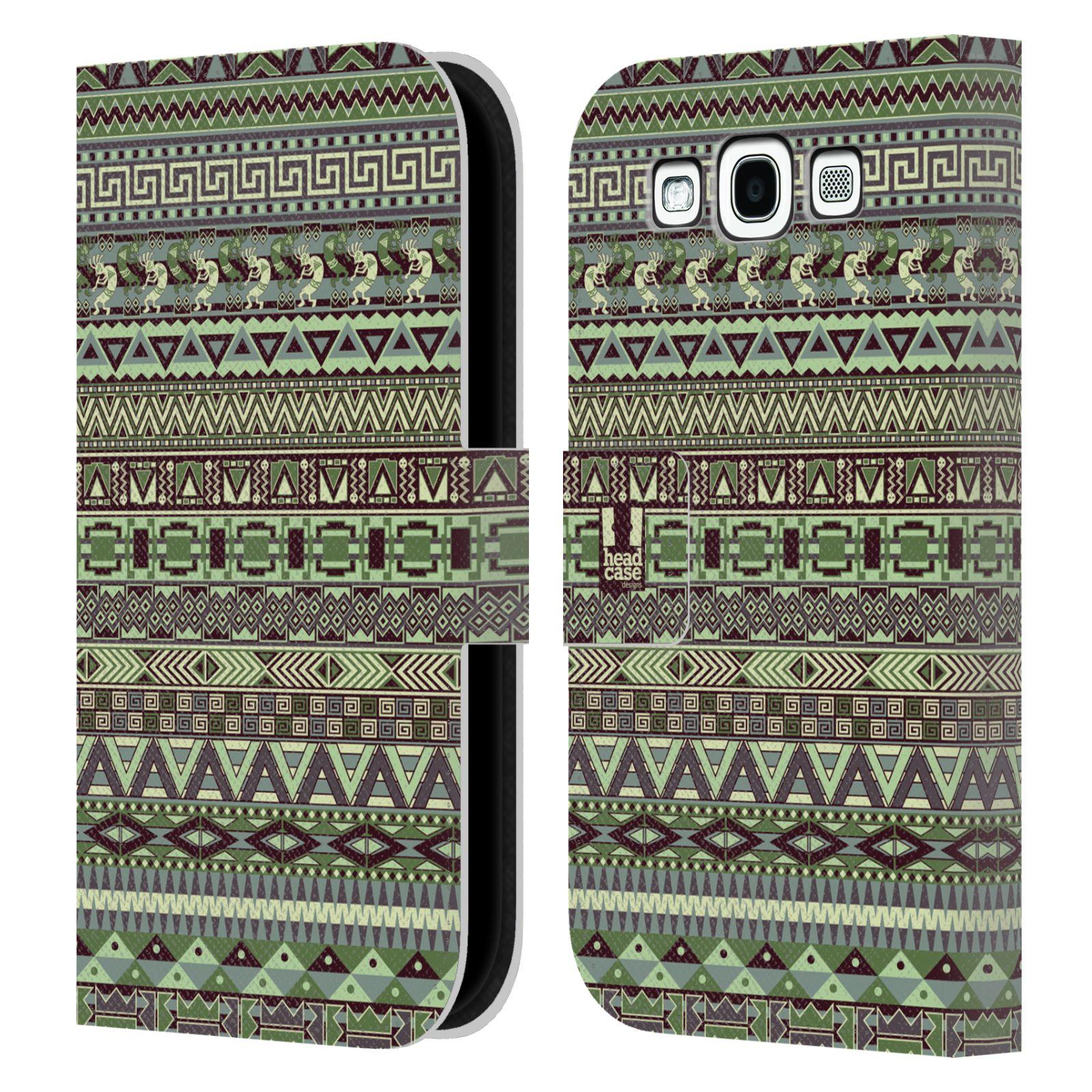 HEAD CASE Flipové pouzdro pro mobil Samsung Galaxy S3 Indiánský vzor GREEN zelená