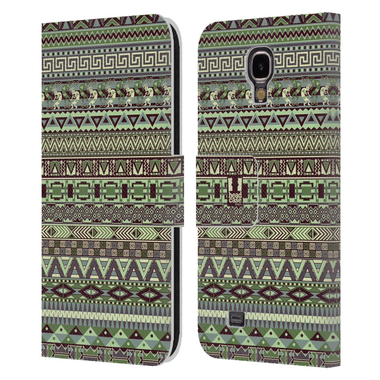 HEAD CASE Flipové pouzdro pro mobil Samsung Galaxy S4 Indiánský vzor GREEN zelená