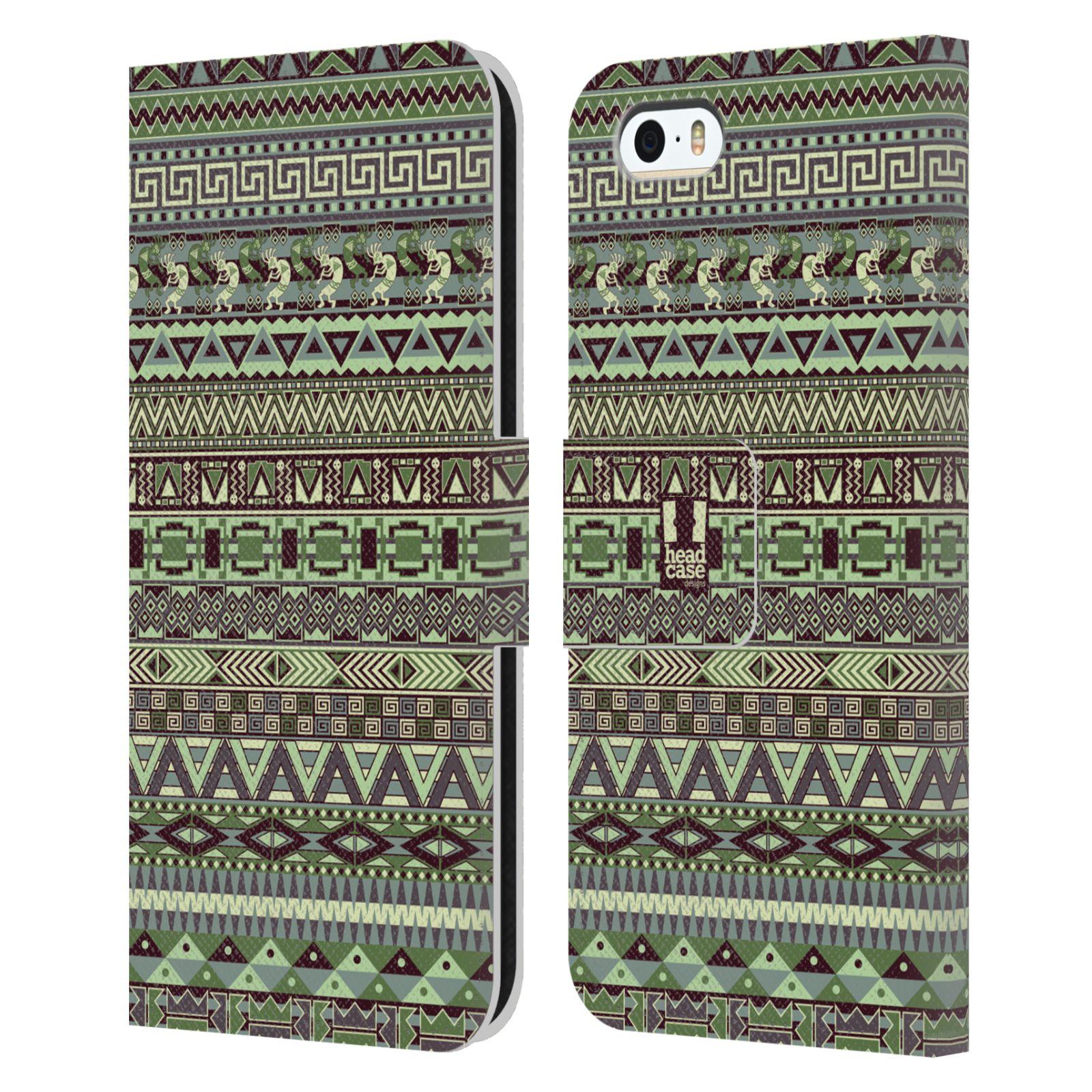 HEAD CASE Flipové pouzdro pro mobil Apple Iphone 5/5s Indiánský vzor GREEN zelená