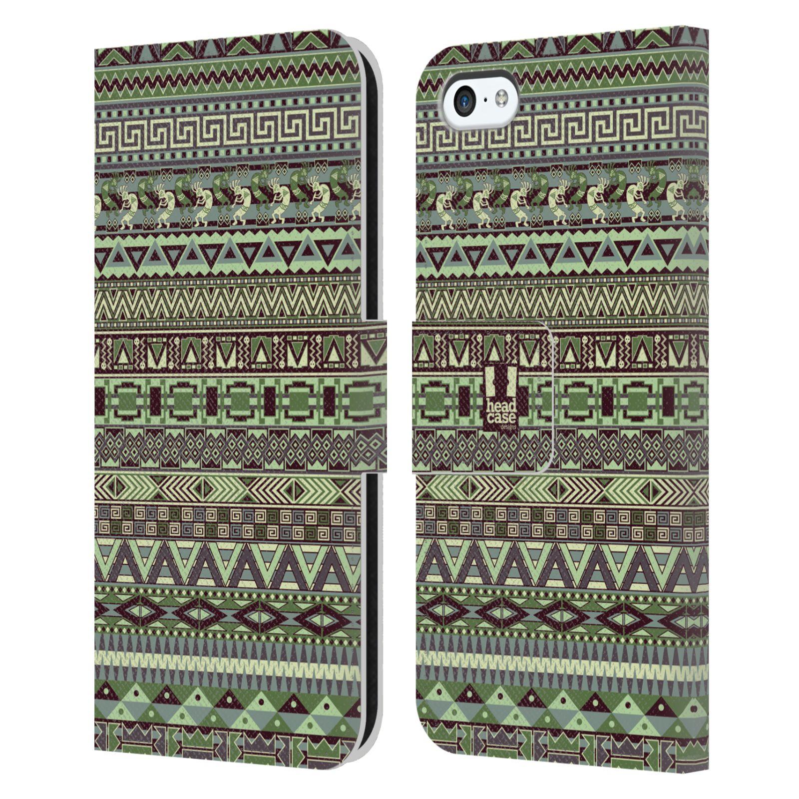 HEAD CASE Flipové pouzdro pro mobil Apple Iphone 5C Indiánský vzor GREEN zelená