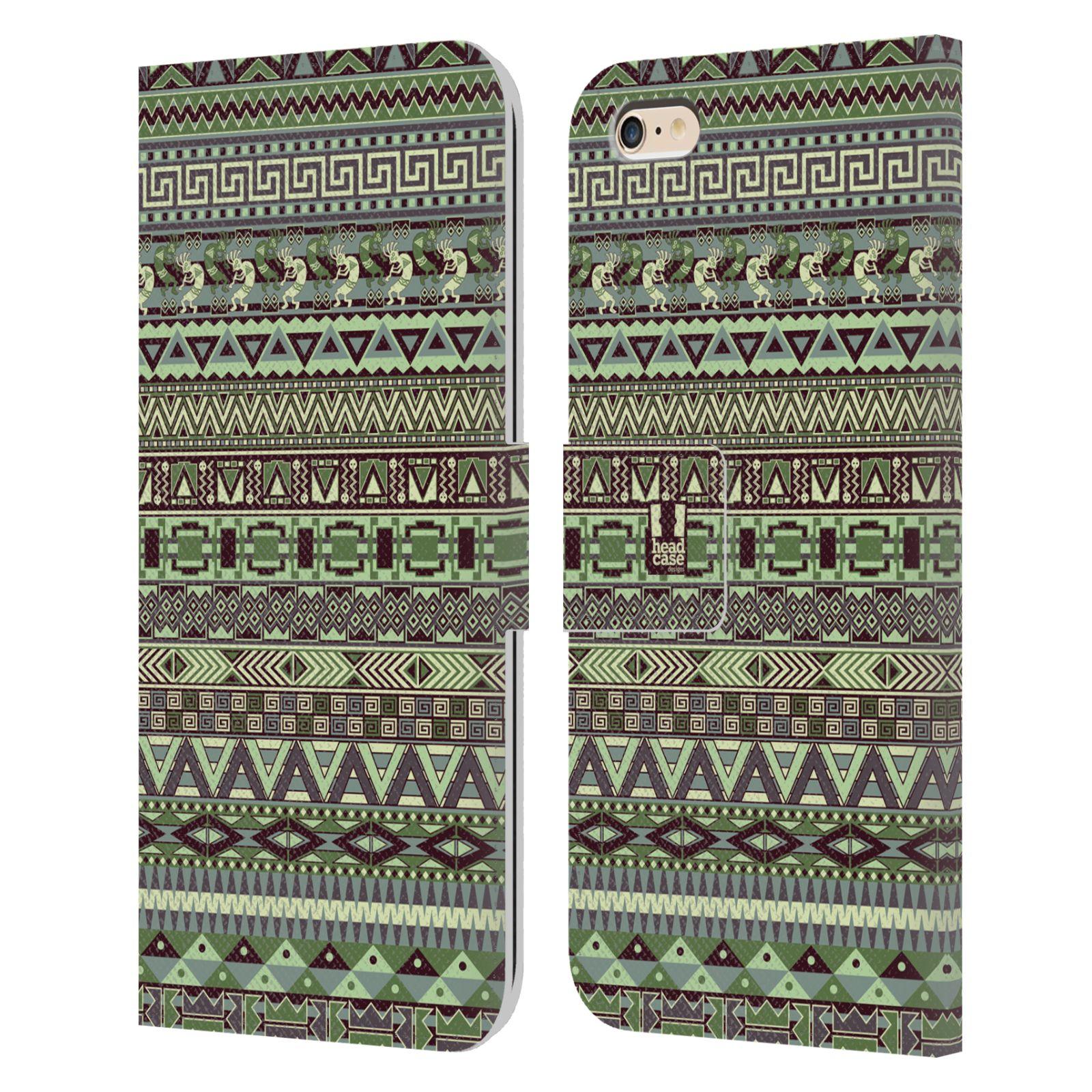 HEAD CASE Flipové pouzdro pro mobil Apple Iphone 6 PLUS / 6S PLUS Indiánský vzor GREEN zelená